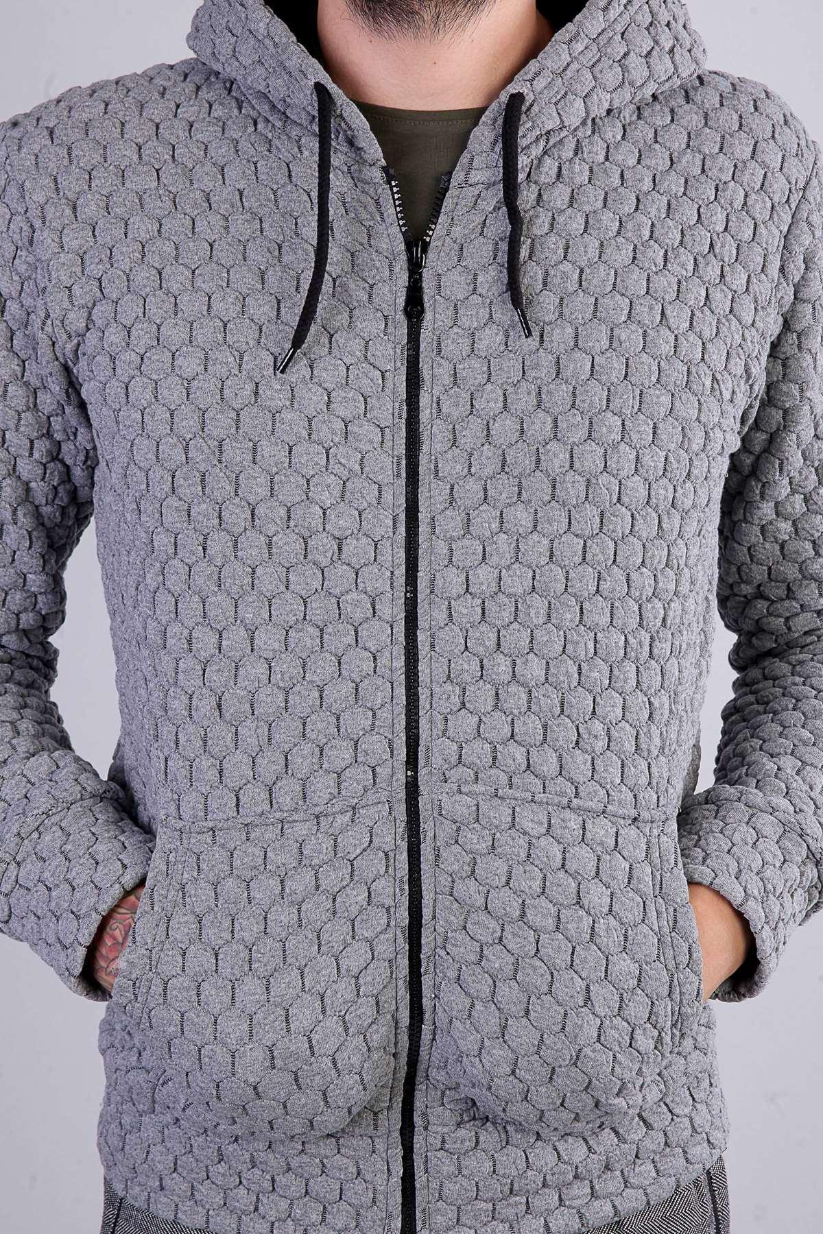 Oval Kabartmalı Kapşonlu Sweatshirt Gri
