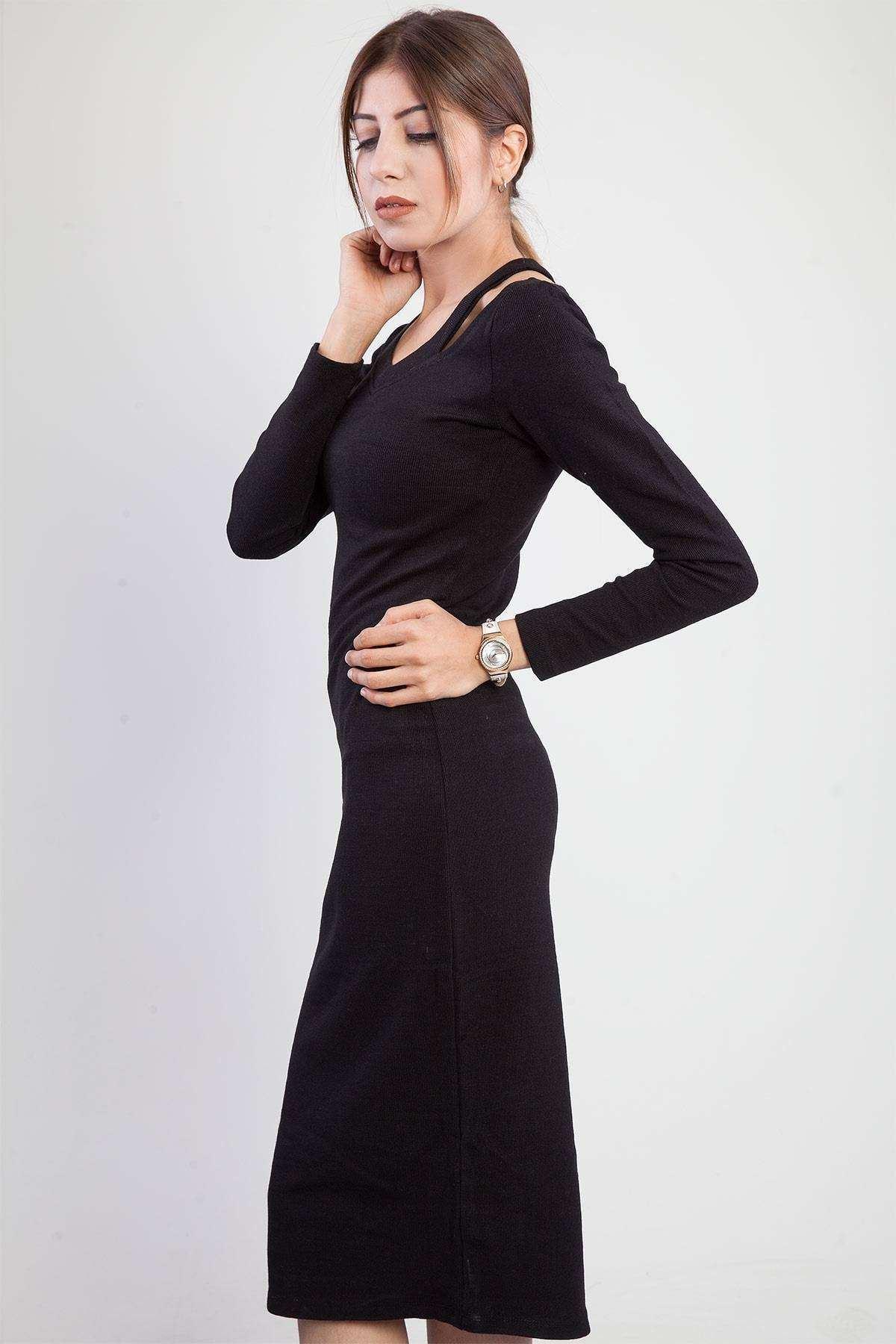 Omuz Detaylı Sıfır Yaka Triko Elbise Siyah