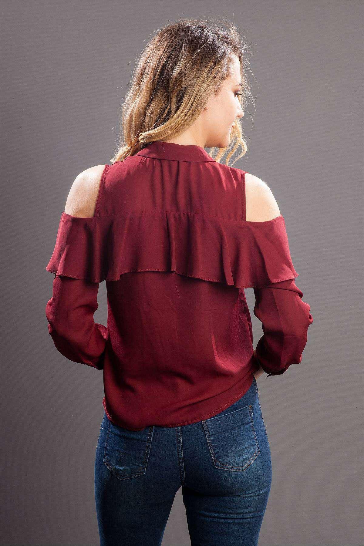 Omuz Açık Önü Fırfırlı Uzun Kol Gömlek Bordo