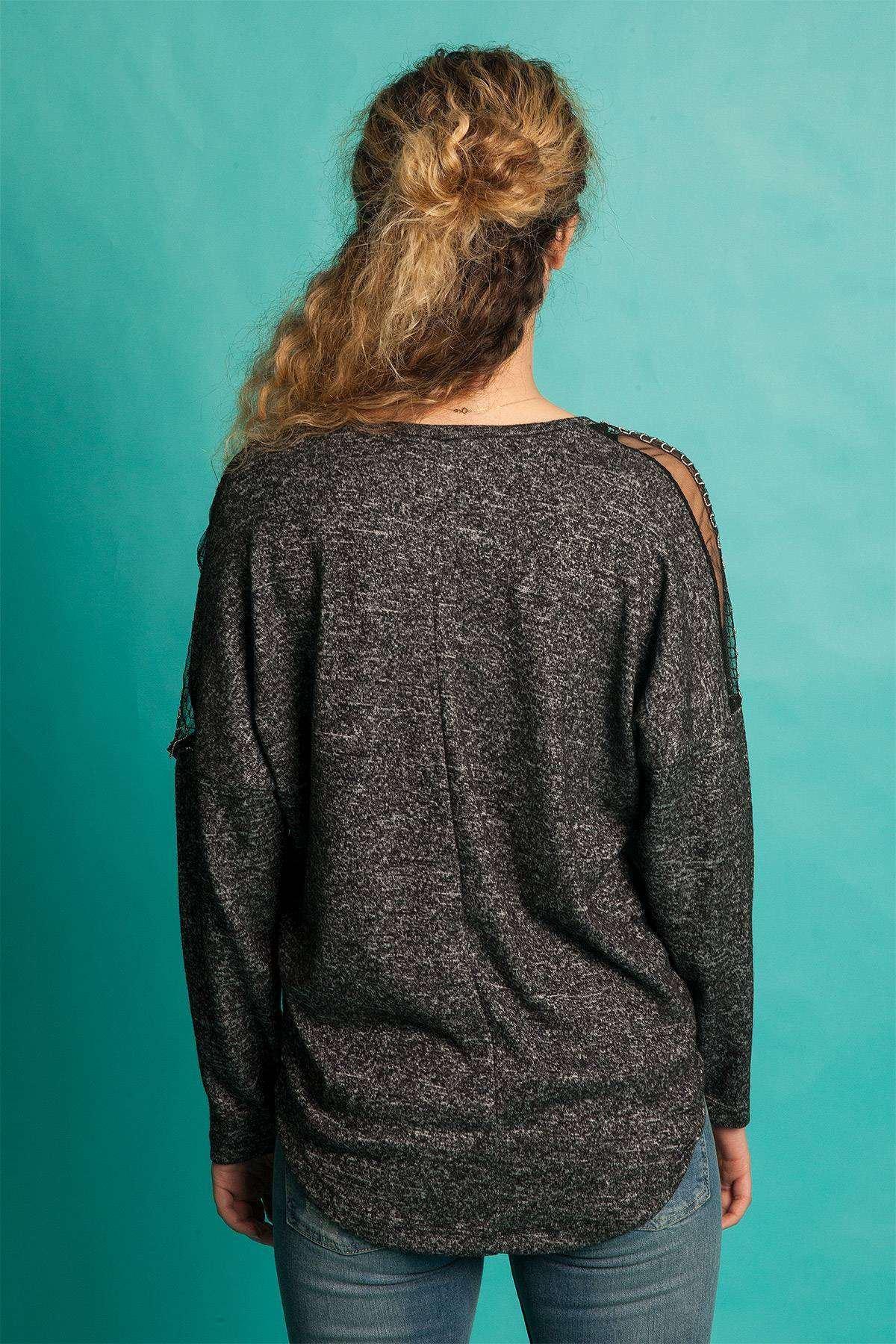 Omuz Fileli Zincir  Detaylı Yumoş Bluz Antrasit