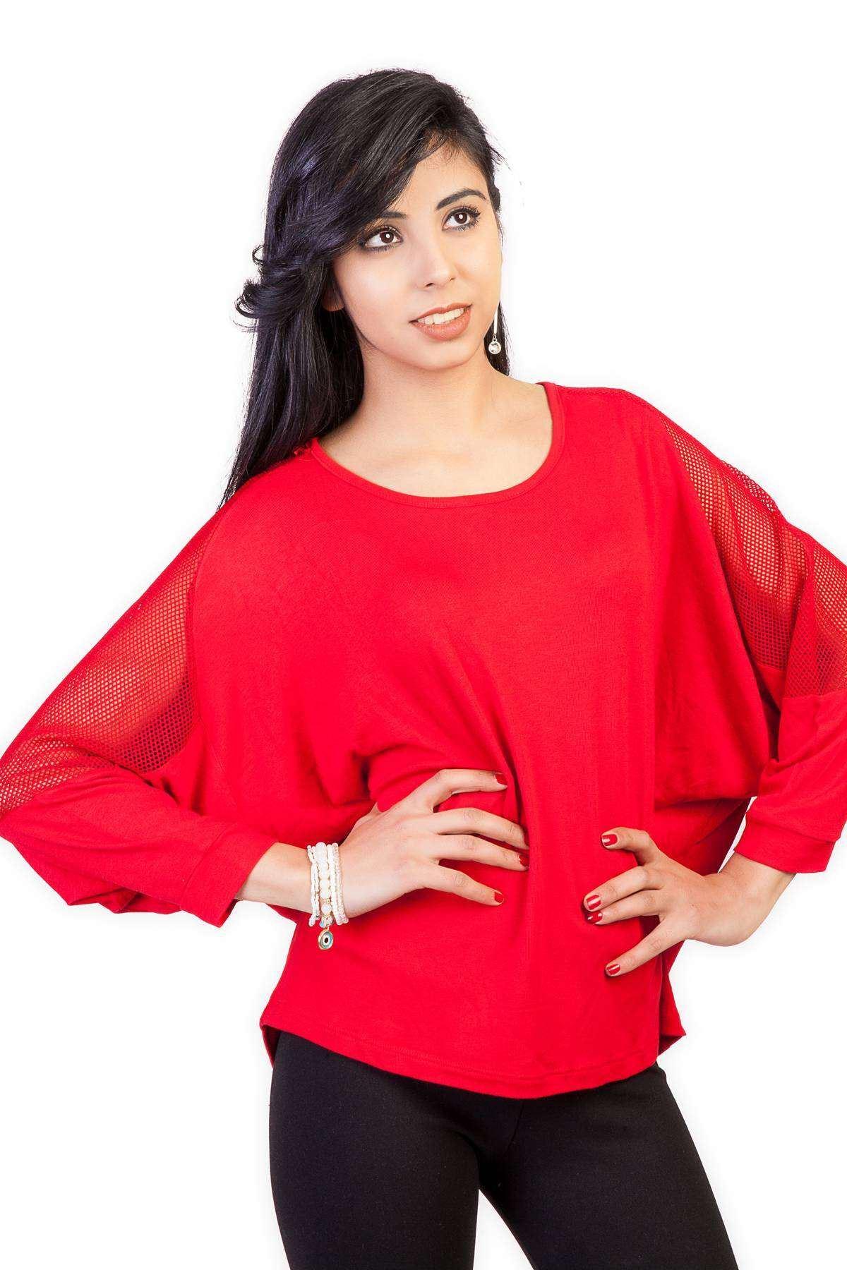 Omuz File Detaylı Yarasa Kesim Bluz Kırmızı
