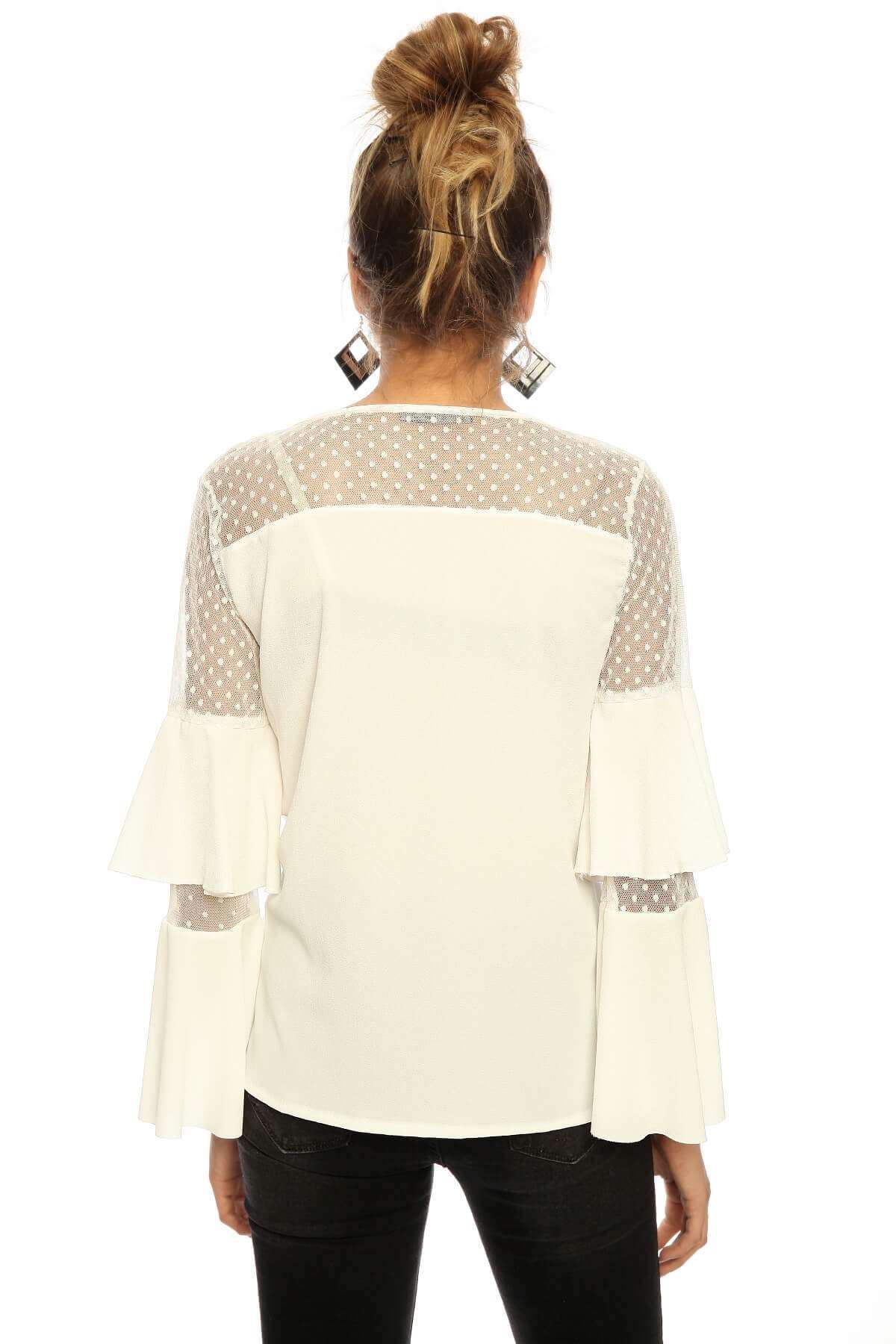 Omuz Tül Puanlı Volan Kol Bluz Beyaz