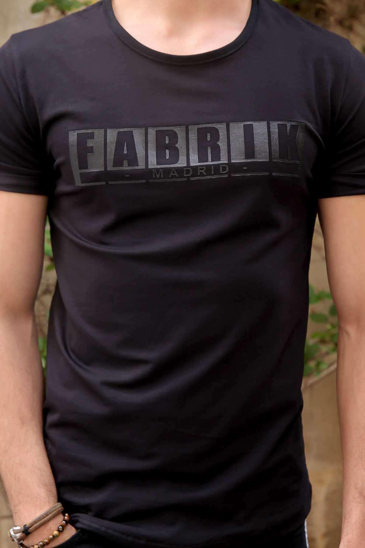 Önü Fabrik Yazı Baskılı Simit Yaka Slim Fit Tişört Siyah