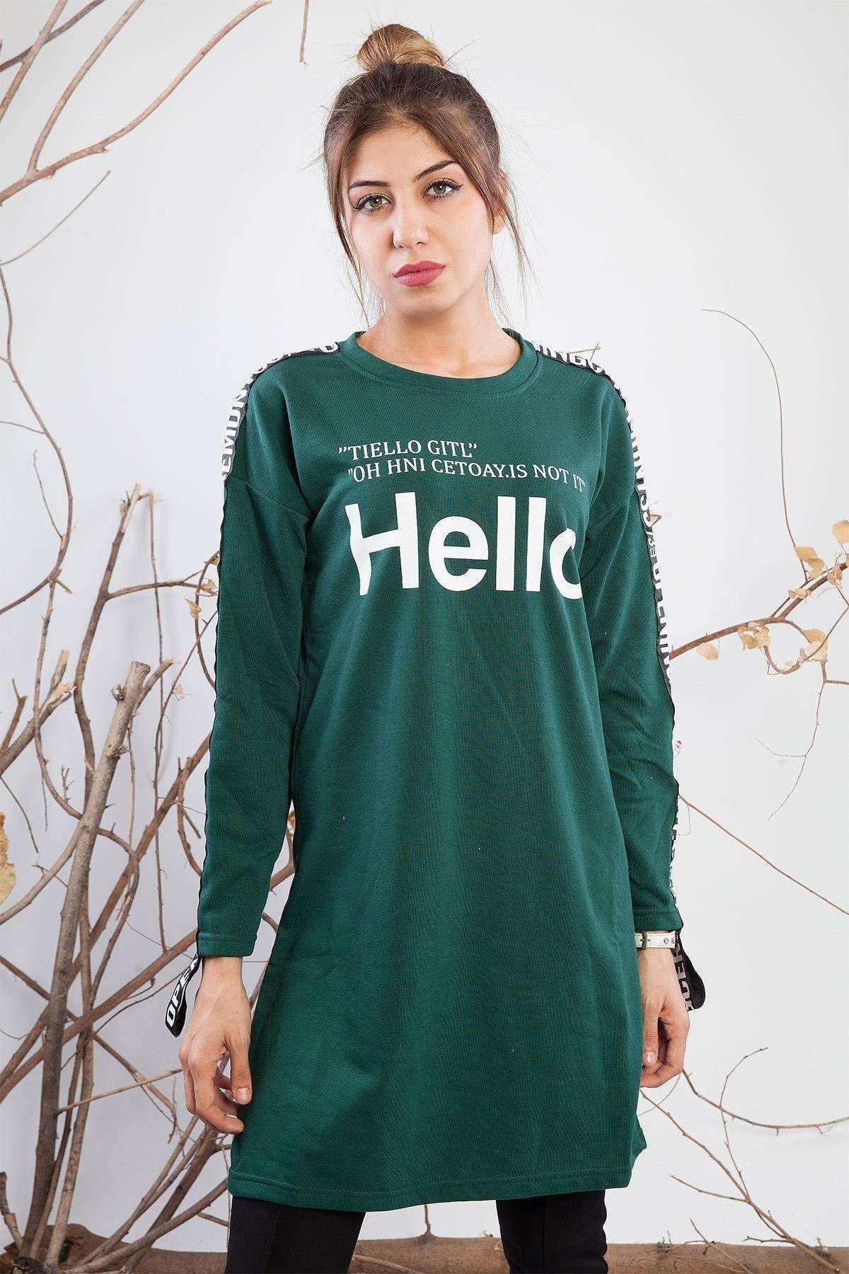 Önü Baskılı Kolu Detaylı Tunik Yeşil