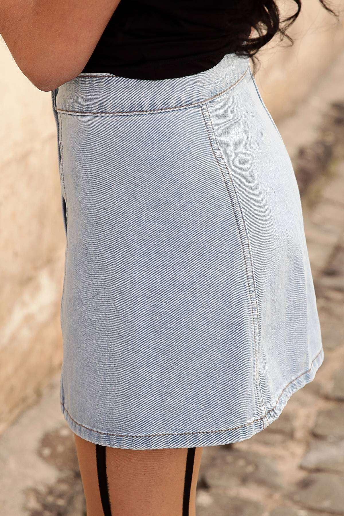 Önü Boydan Düğme Detaylı Mini Etek Açık-Mavi
