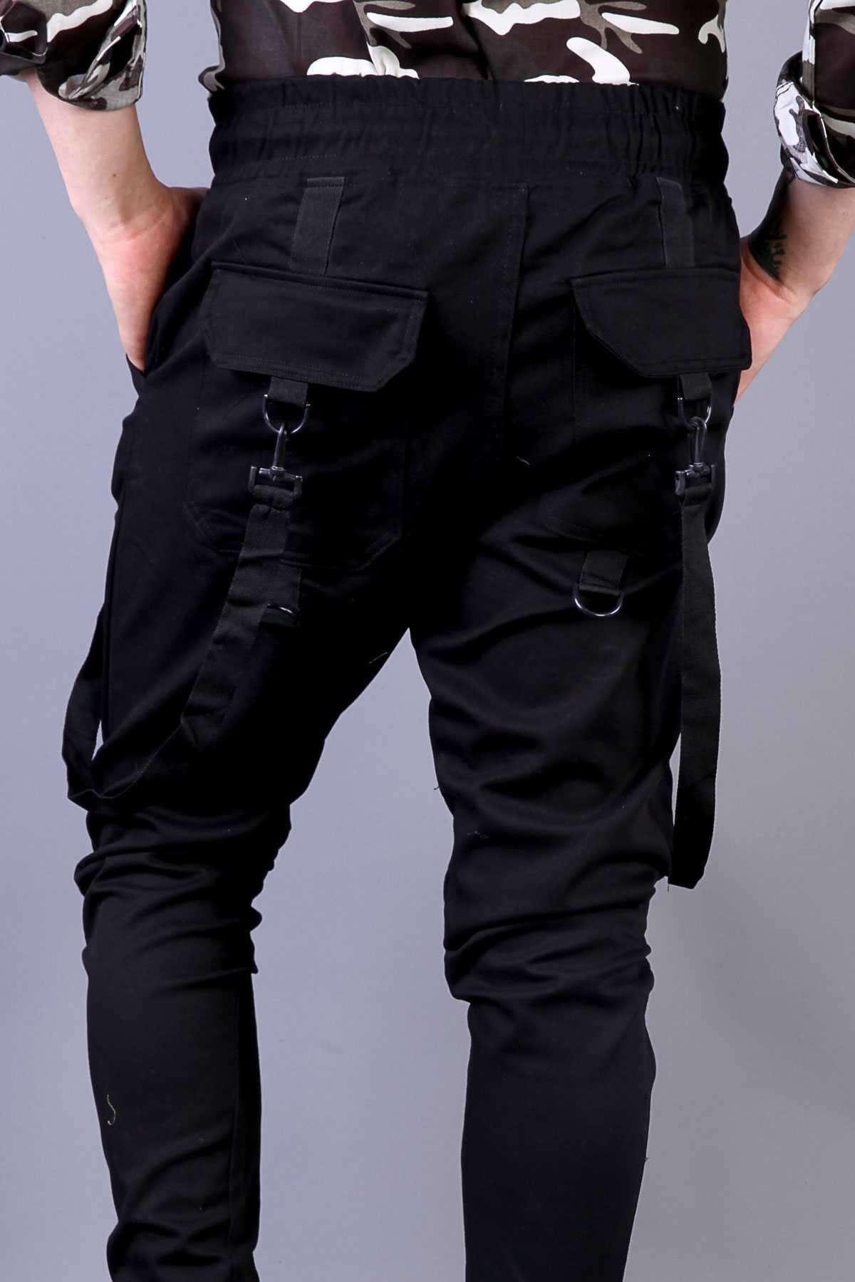 Önü Arkası Şerit Askılı Paça Ucu Lastikli Gabardin Pantolon Siyah