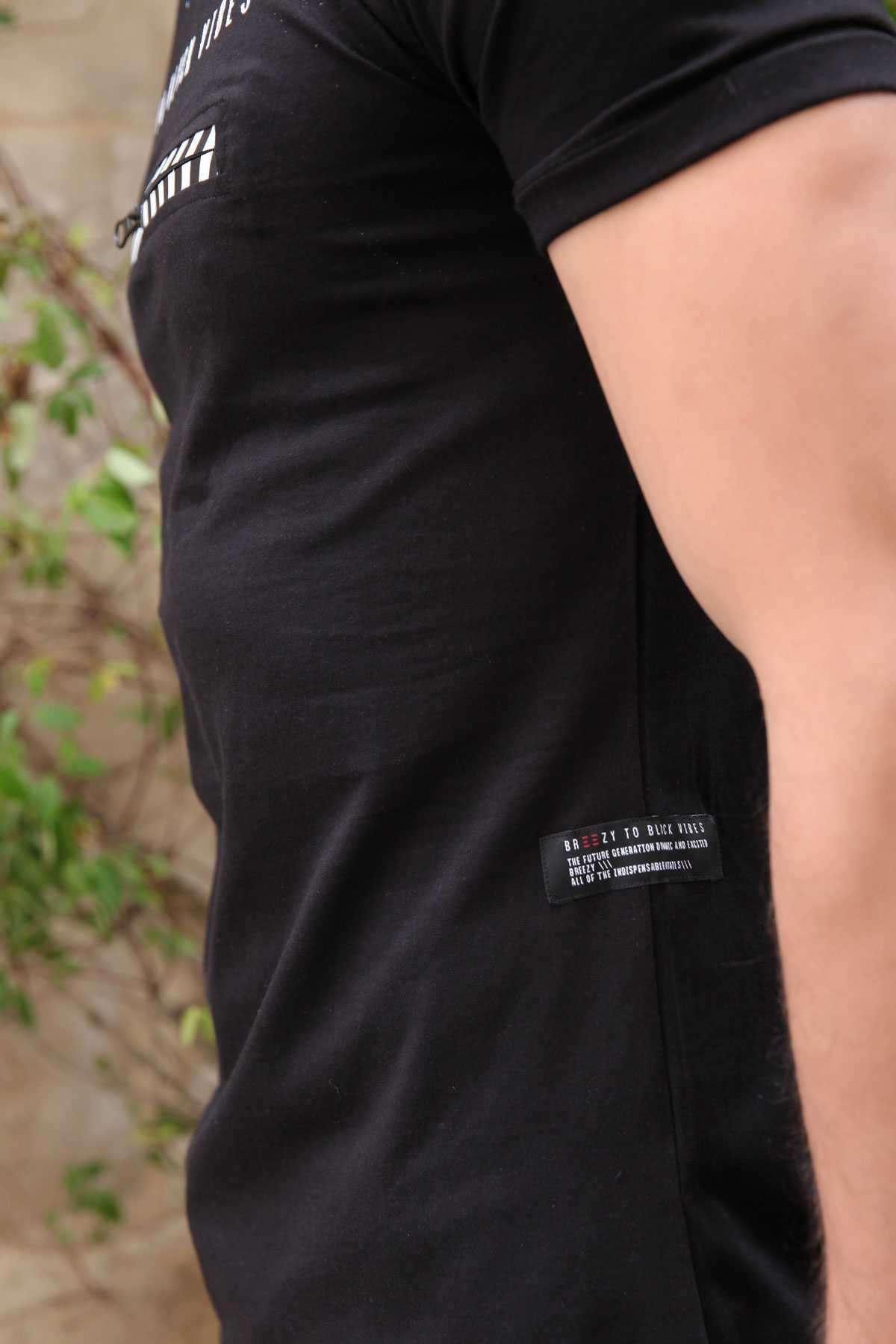 Önü Fermuar Şeritli Yazı Baskılı Slim Fit Tişört Siyah