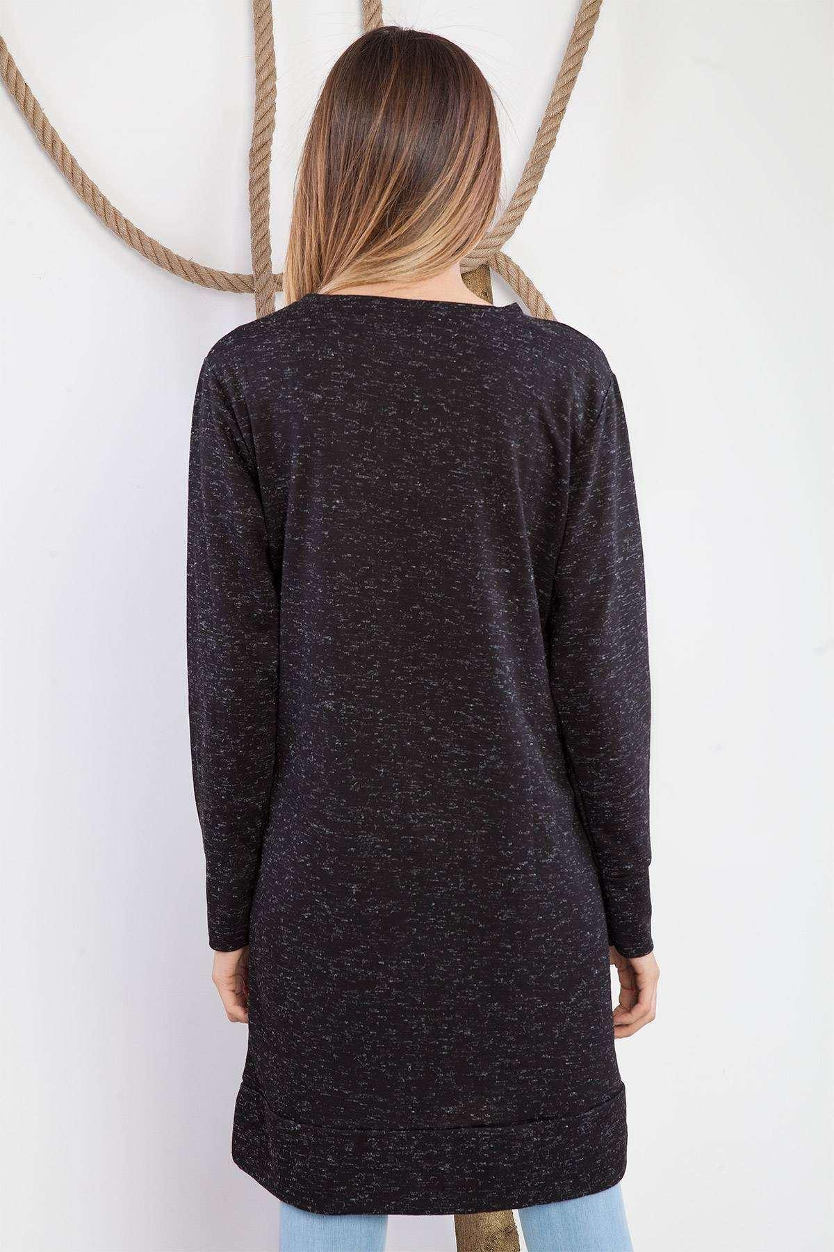 Önü Demir Detaylı Tunik Siyah