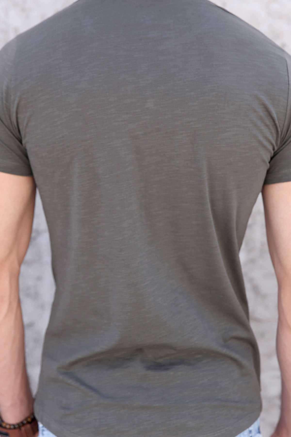 Önü Boyuna Dream Yazı Baskılı Pis Yaka Tişört Haki
