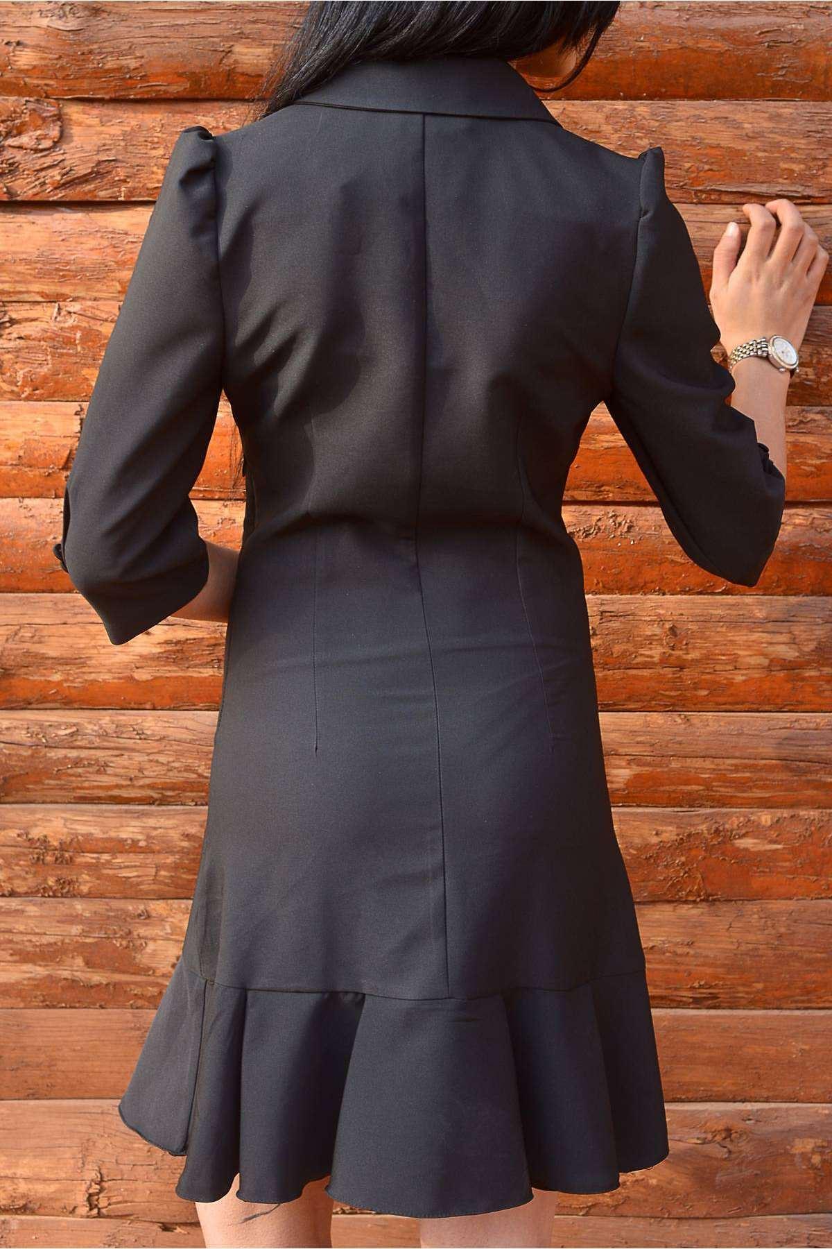 Önü Çift Düğme Detaylı Eteği Volanlı Gez Kol Elbise Siyah