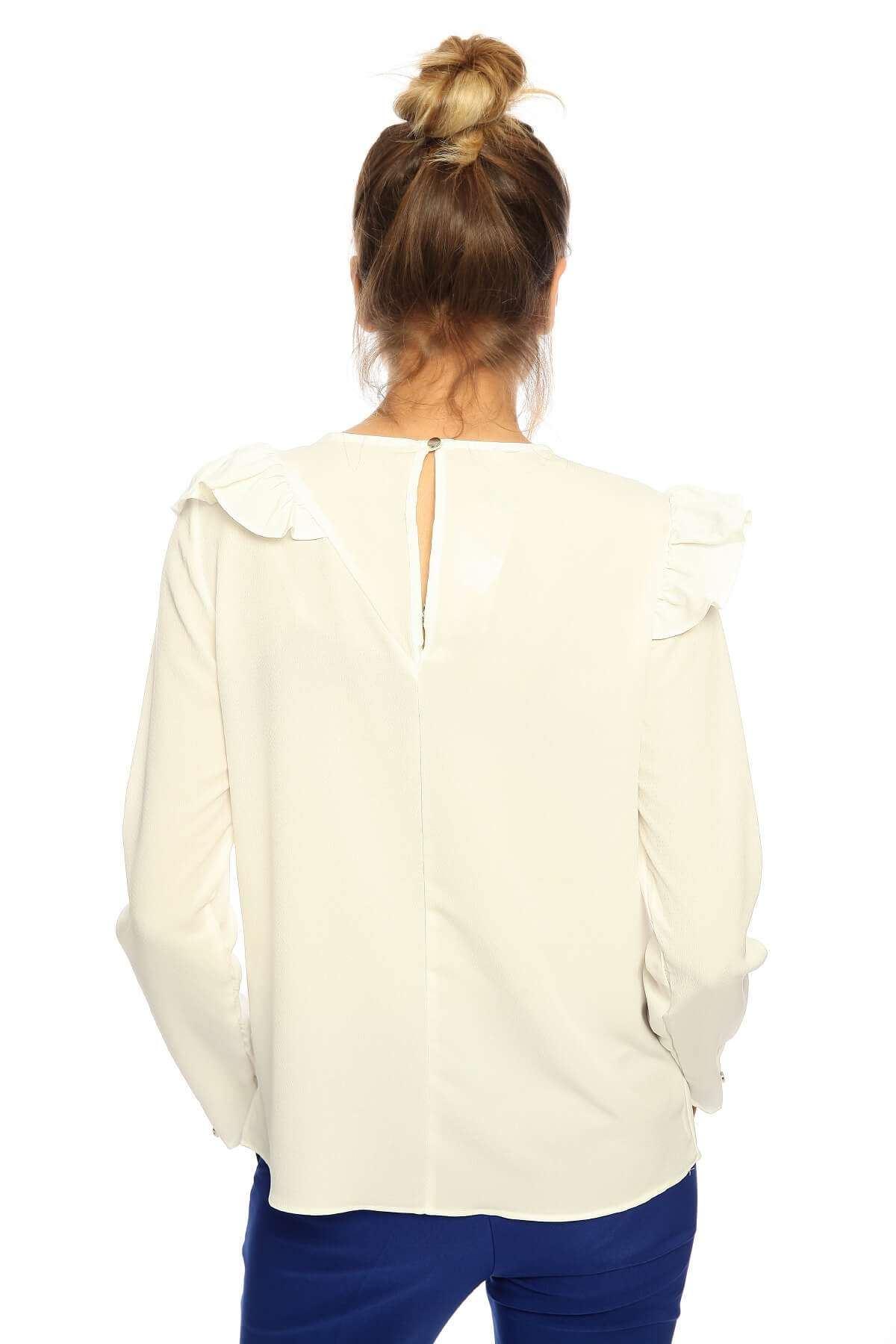 Önü Fırfırlı Uzun Kol Crep Bluz Beyaz