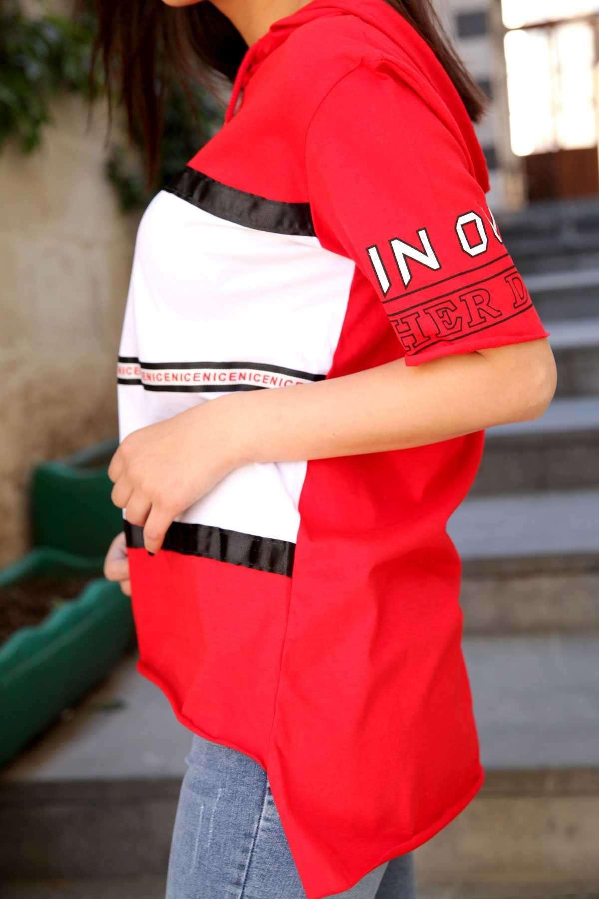 Önü Dont Tag Me Yazı Detaylı Kapşonlu Uzun Tişört Kırmızı