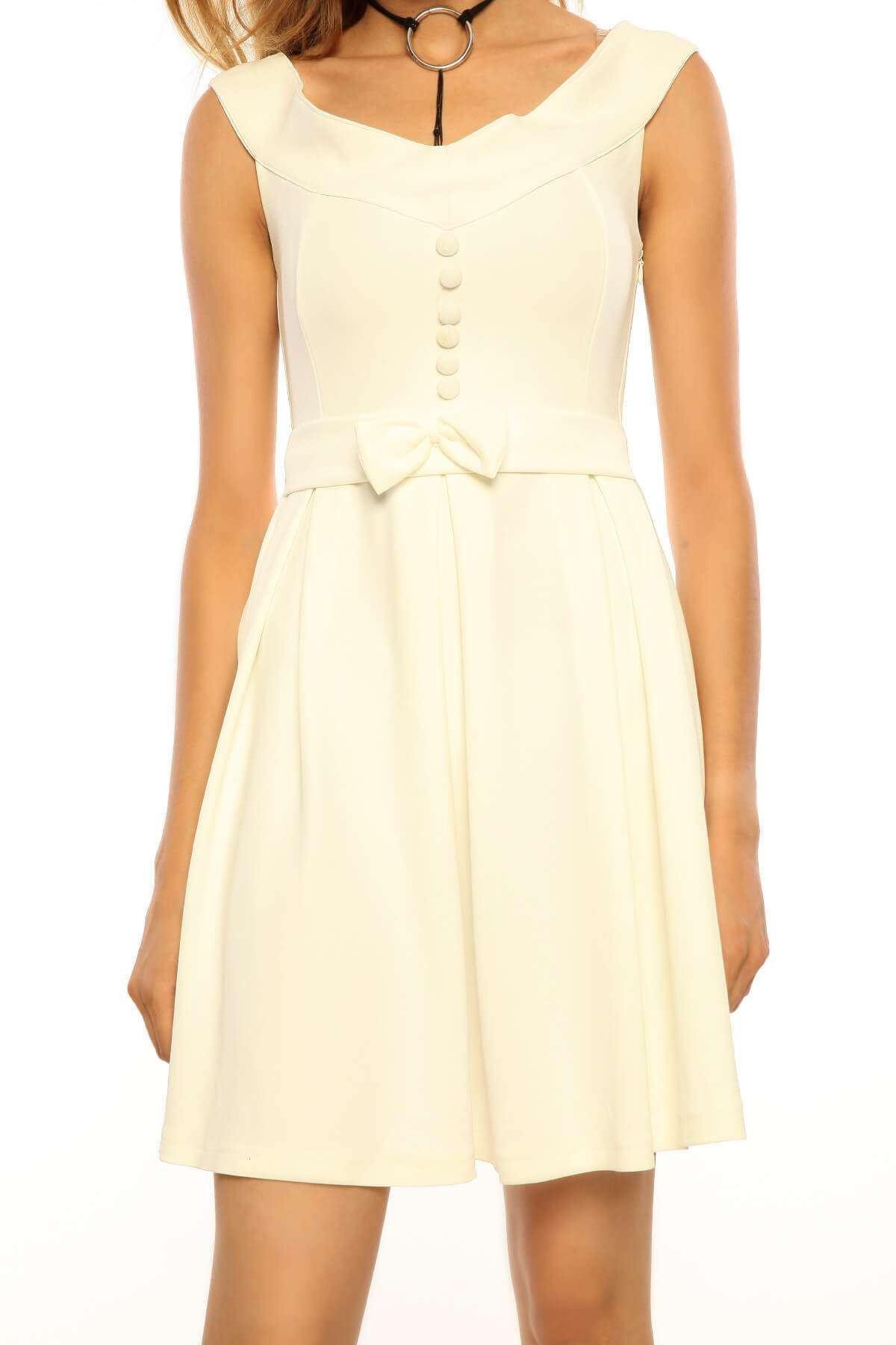 Önü Fiyonk Düğme Detaylı Elbise Beyaz