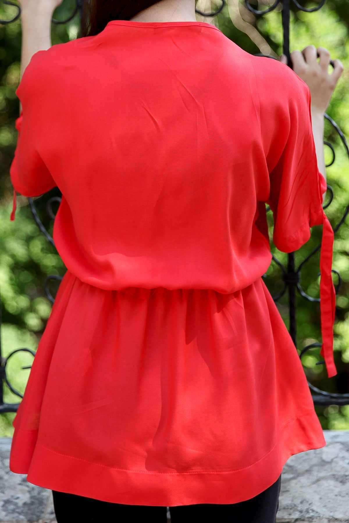Önü Çapraz Beli Büzmeli Kol Ucu Bağcıklı Tunik Kırmızı
