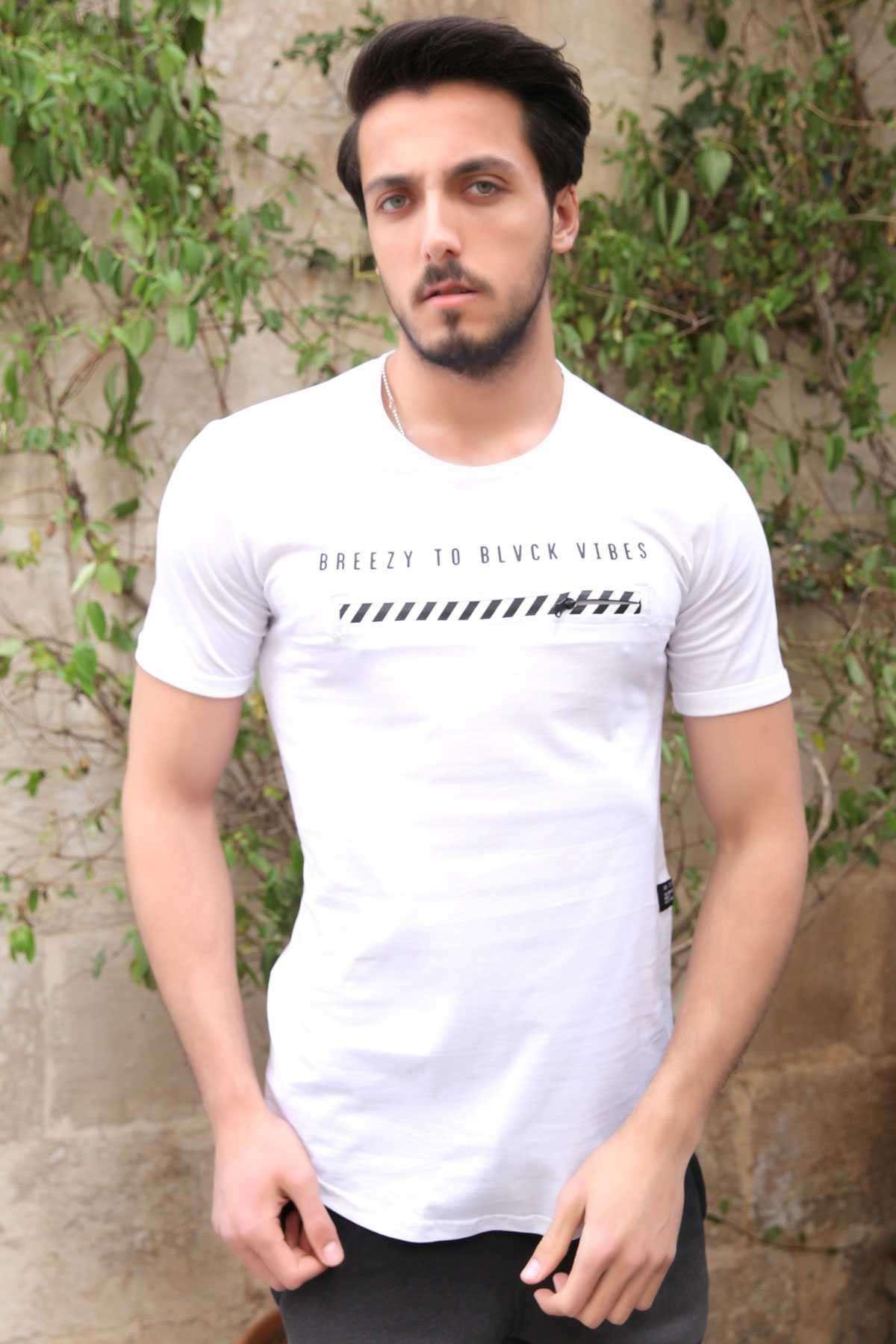 Önü Fermuar Şeritli Yazı Baskılı Slim Fit Tişört Beyaz