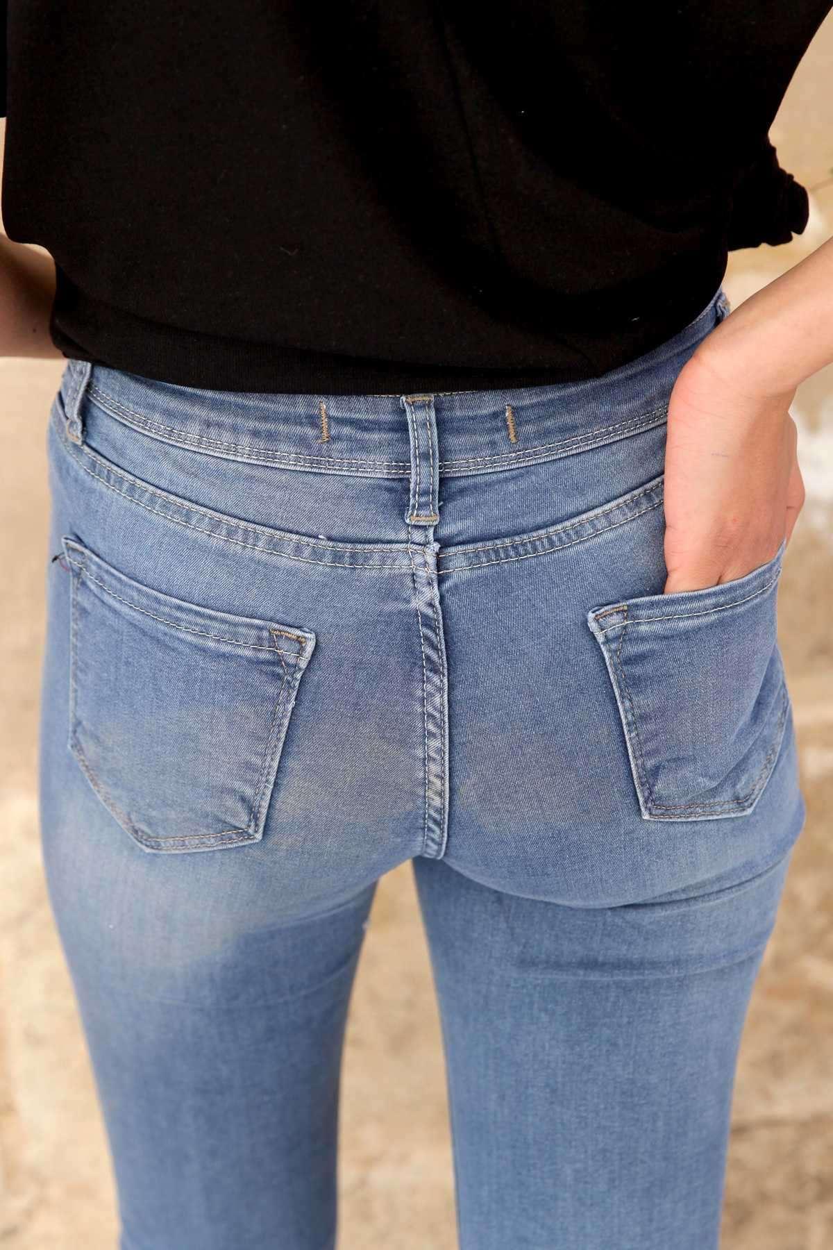 Önü İncili Taş Detaylı Yüksek Bel Kot Pantolon Mavi