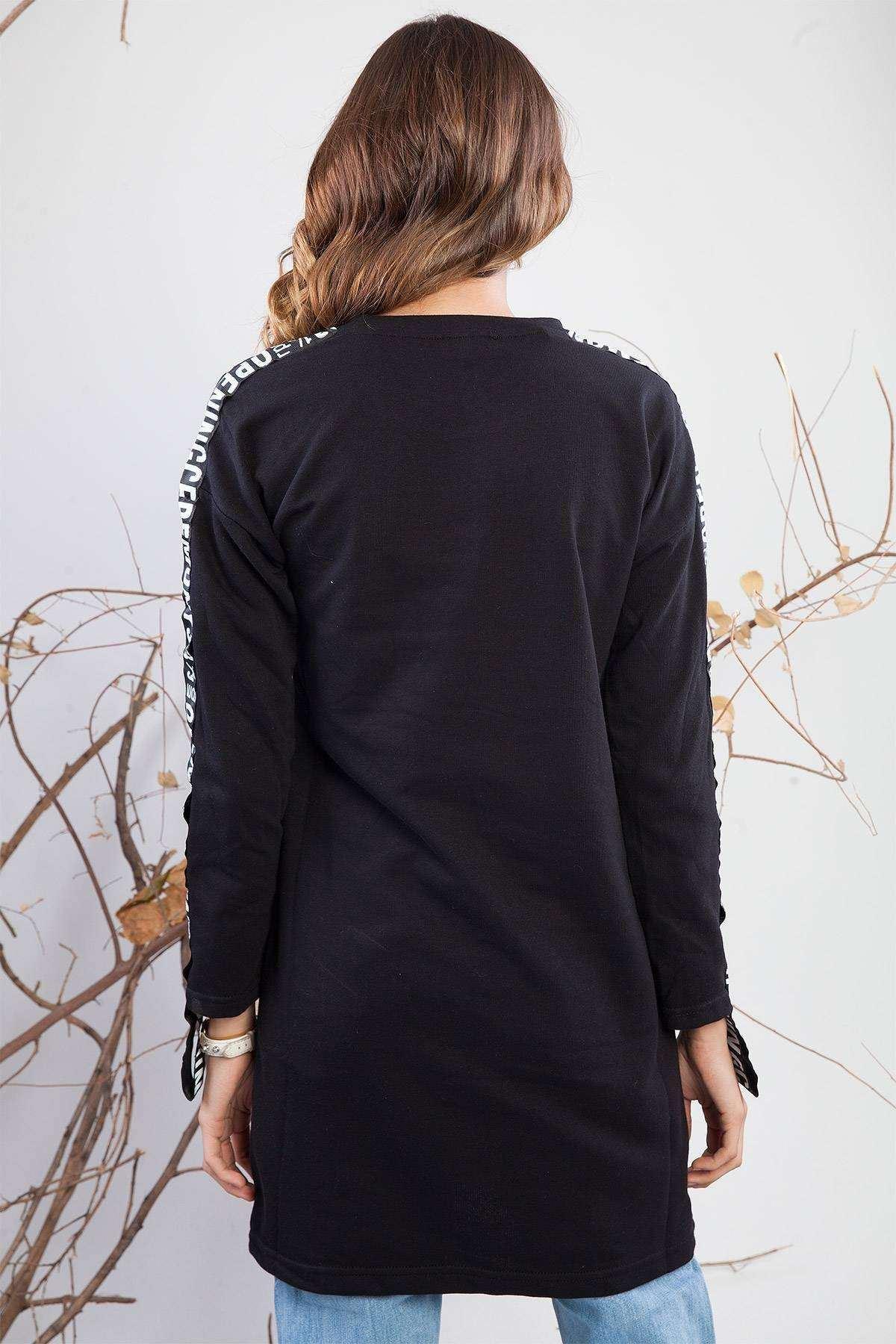 Önü Baskılı Kolu Detaylı Tunik Siyah