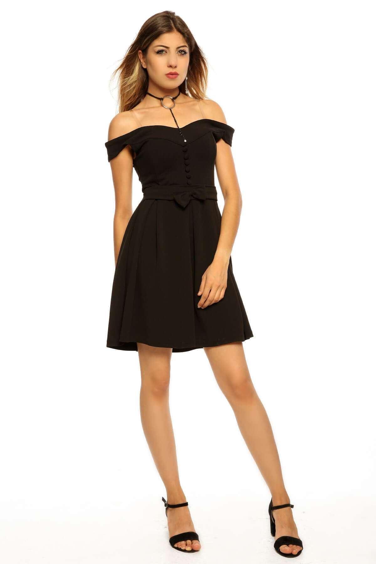 Önü Fiyonk Düğme Detaylı Elbise Siyah