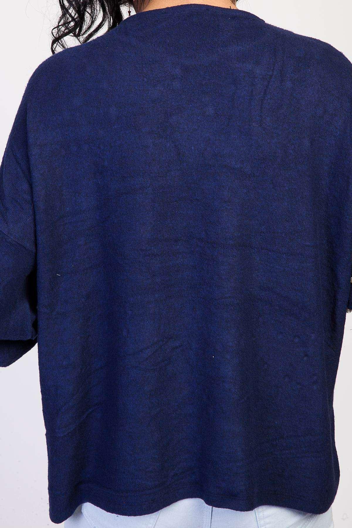 Önü İnci Detaylı Gez Kol Sıfır Yaka Salaş Bluz Lacivert