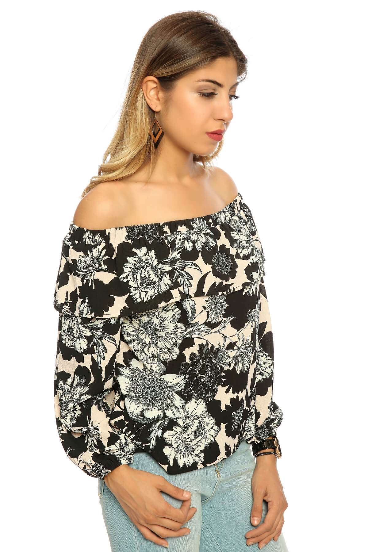 Ön Kısa Çiçekli Straplez Bluz Siyah