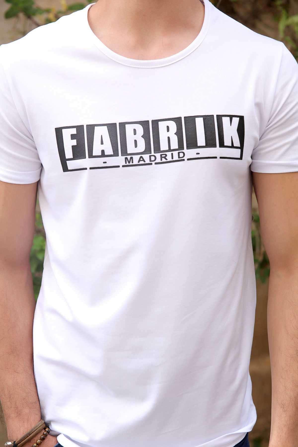 Önü Fabrik Yazı Baskılı Simit Yaka Slim Fit Tişört Beyaz