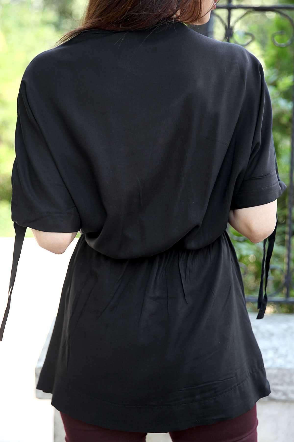 Önü Çapraz Beli Büzmeli Kol Ucu Bağcıklı Tunik Siyah