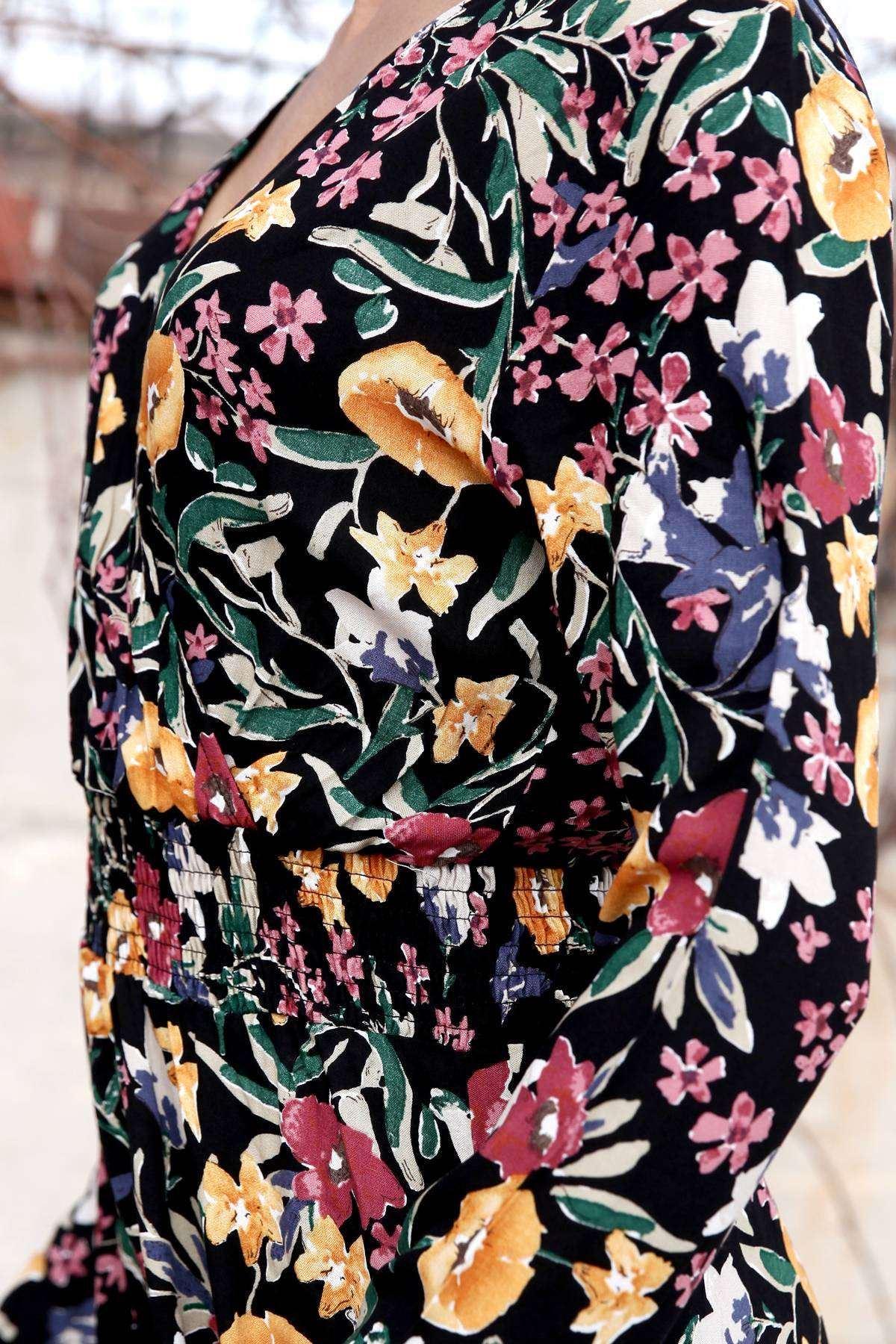 Önü Çarpraz Çiçek Desenli Beli Büzdürmeli Uzun Elbise Siyah