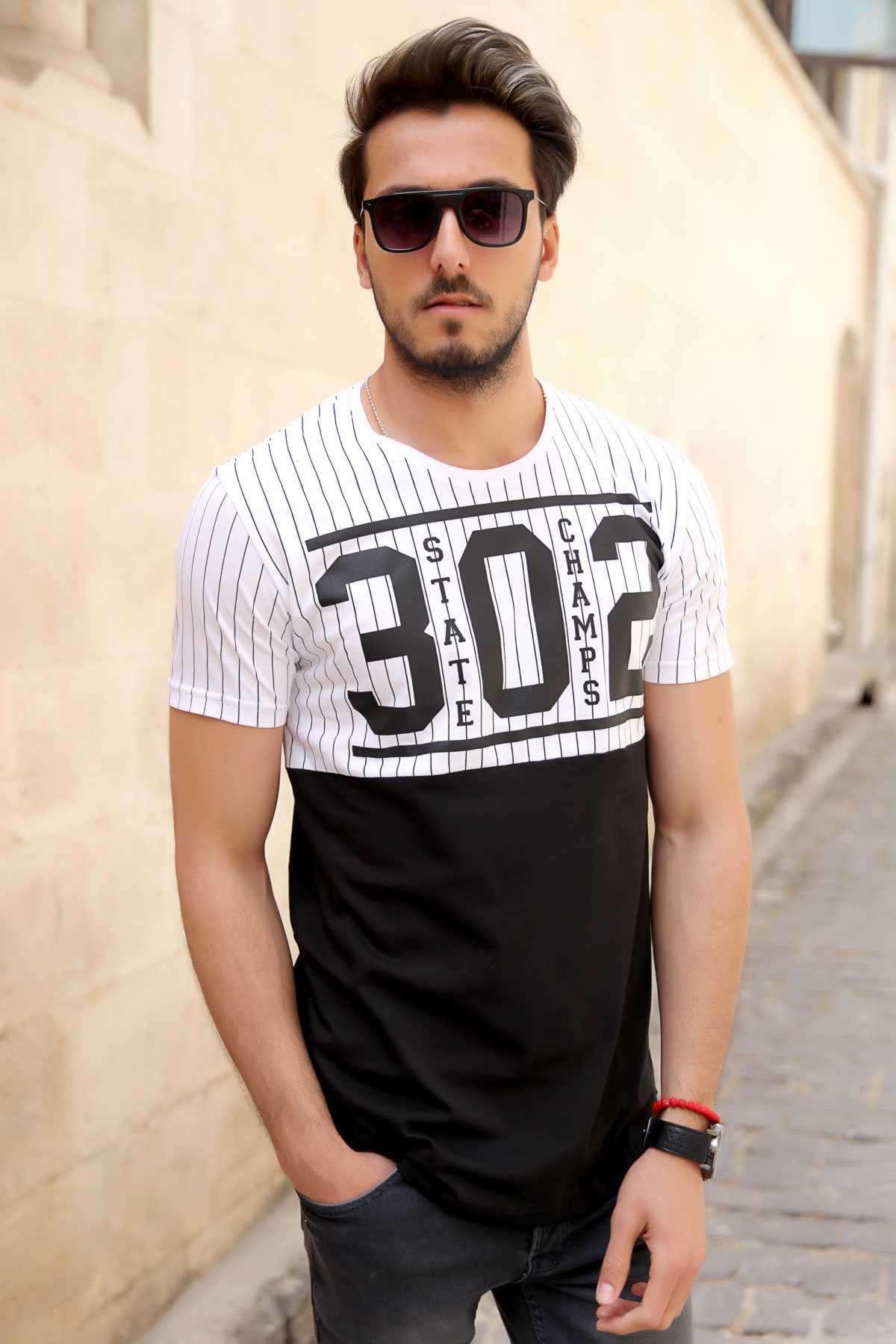 Önü 302 Baskılı İki Renk Sıfır Yaka Slim Fit Tişört Beyaz-Siyah