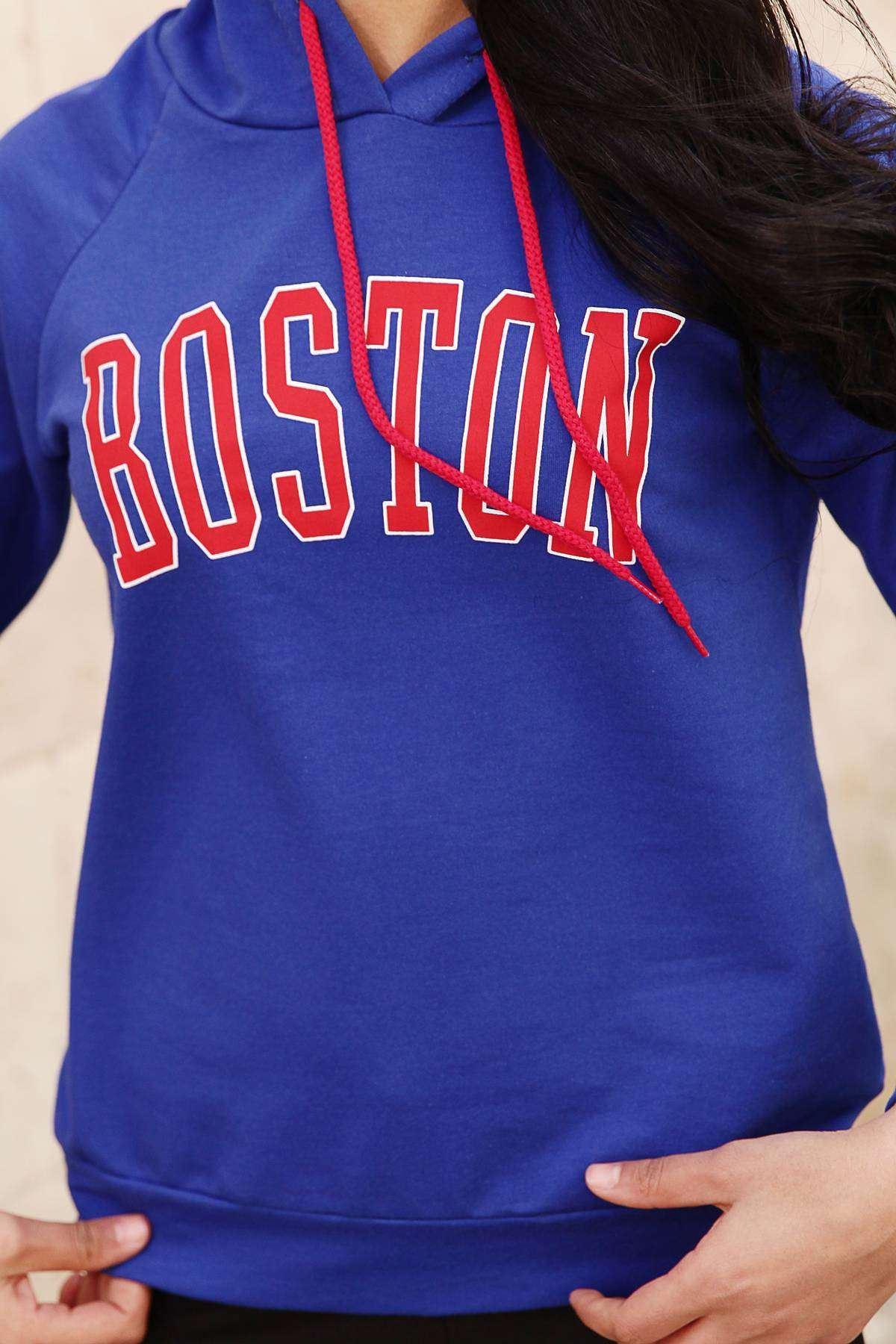 Önü Boston Yazı Detaylı Kapşonlu Sweatshirt Saks