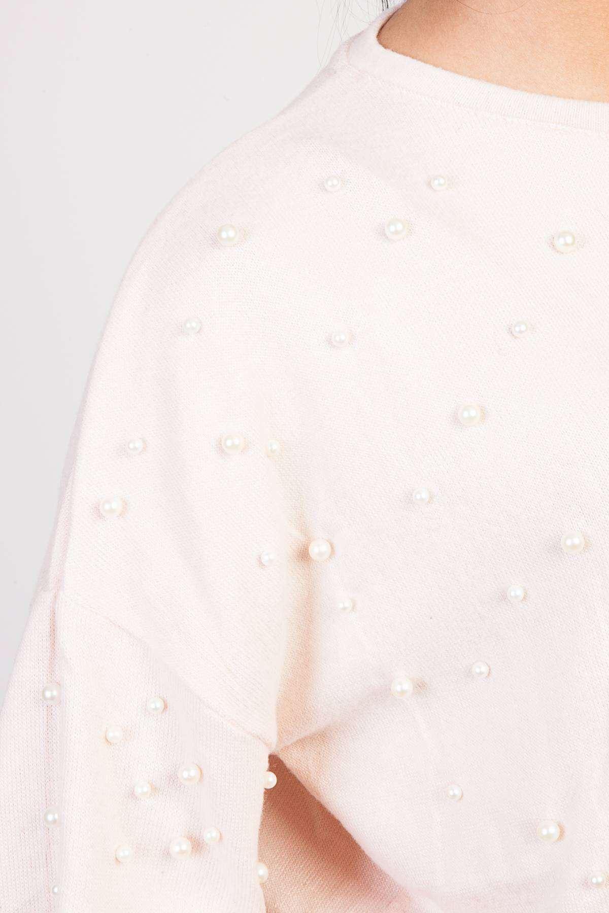 Önü İnci Detaylı Gez Kol Sıfır Yaka Salaş Bluz Pudra