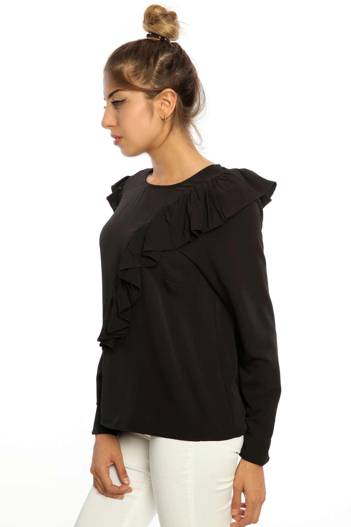 Önü Fırfırlı Uzun Kol Crep Bluz Siyah