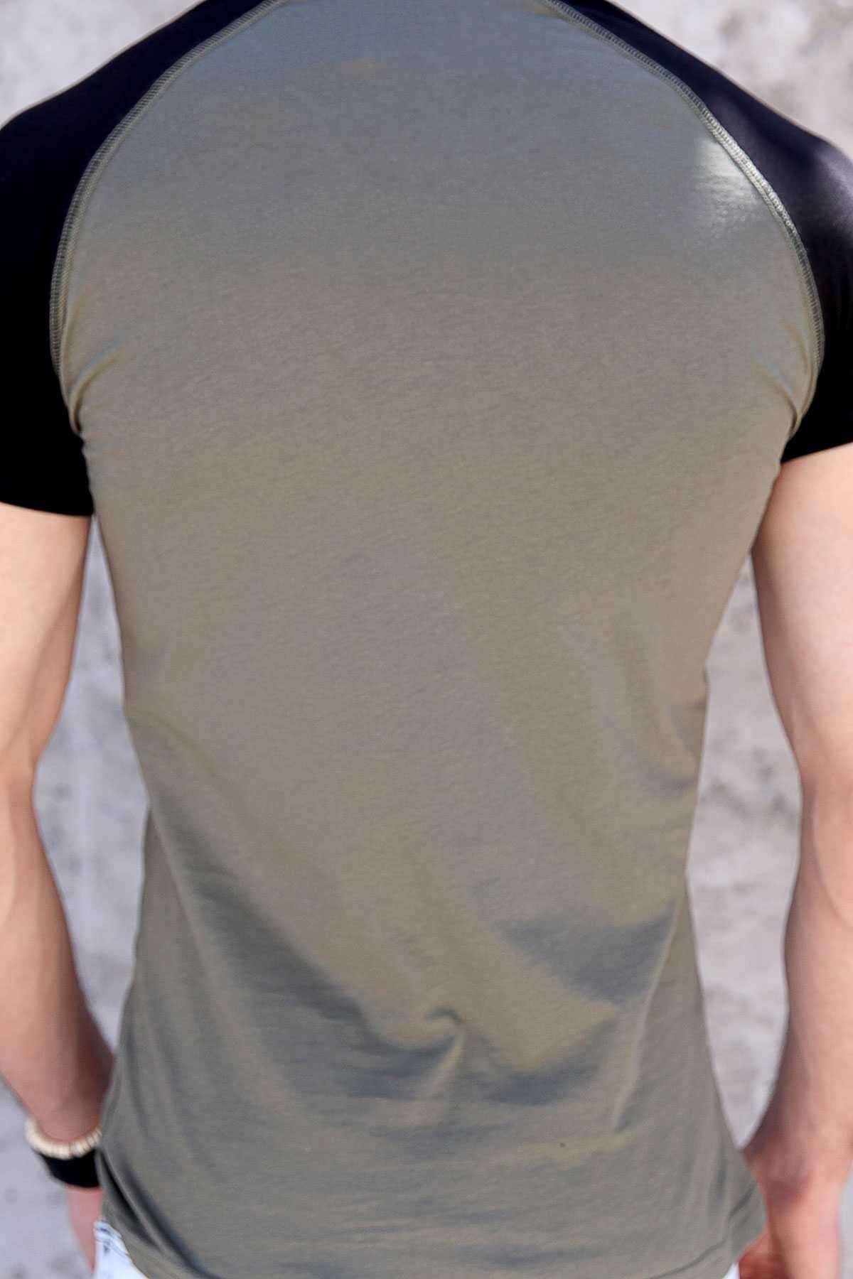 Önü Story Yazı Baskılı Sıfır Yaka Slim Fit Tişört Haki