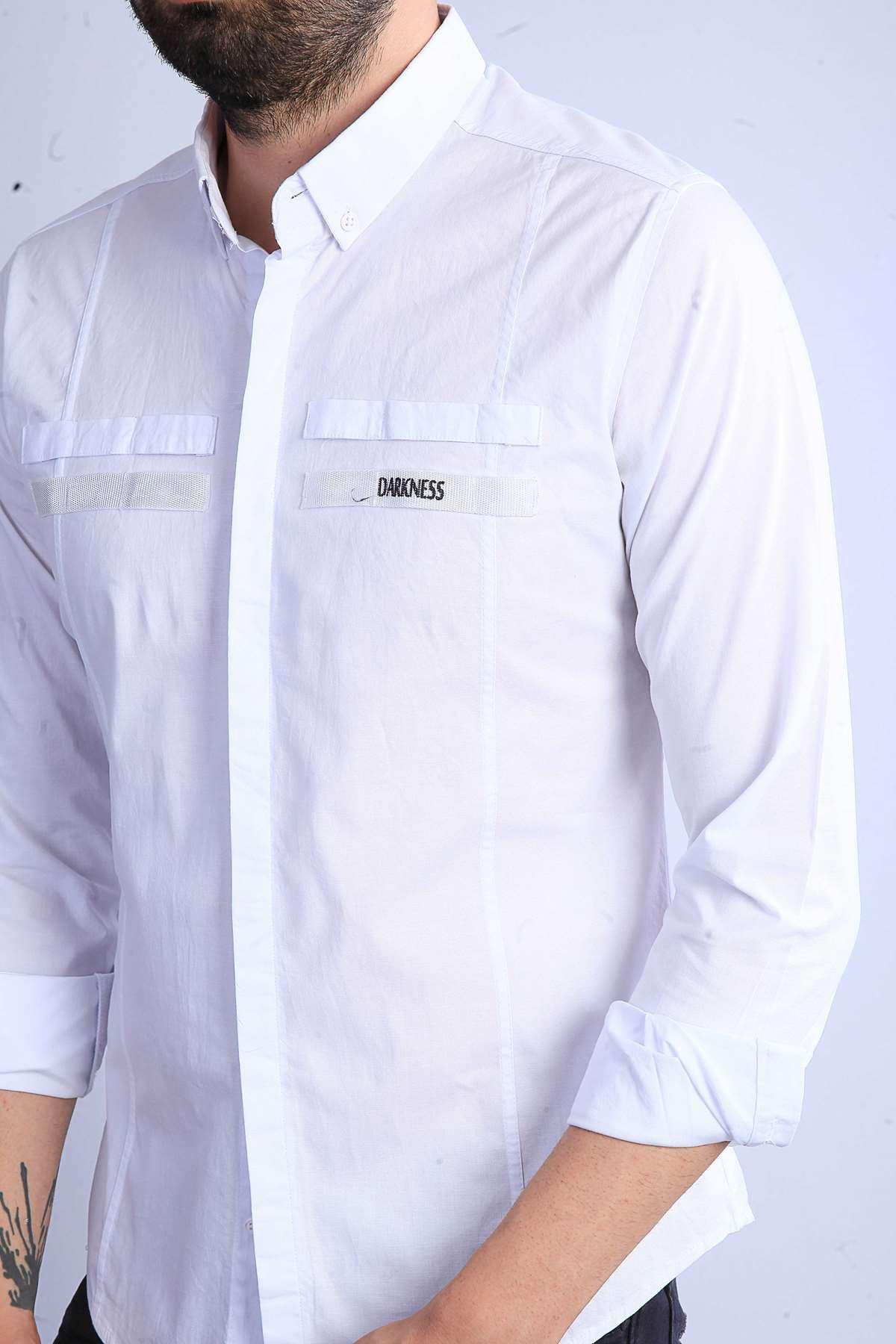 Önü Şeritli Darkness Yazılı Parlak Kumaş Slim Fit Gömlek Beyaz