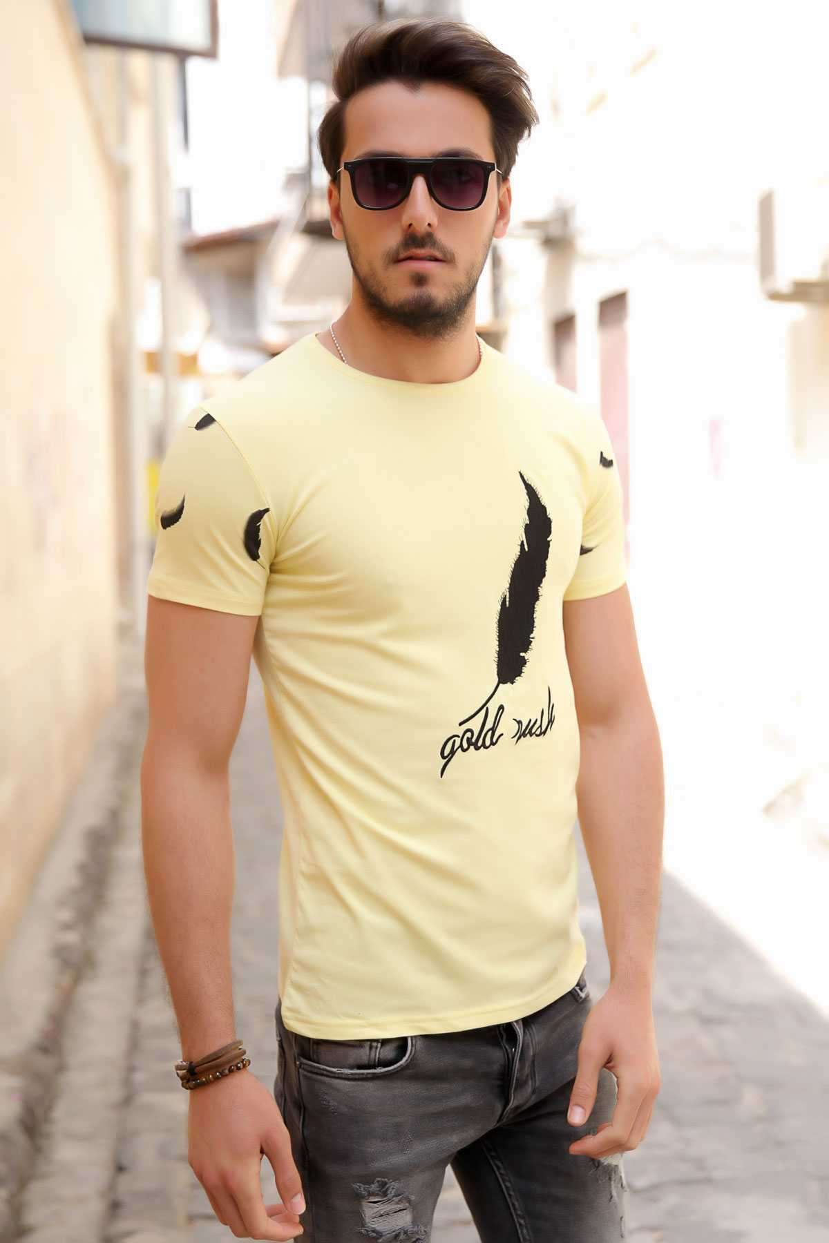 Önü Nakış İşleme Tüy Desenli Kolları Tüy Baskılı Tişört Sarı