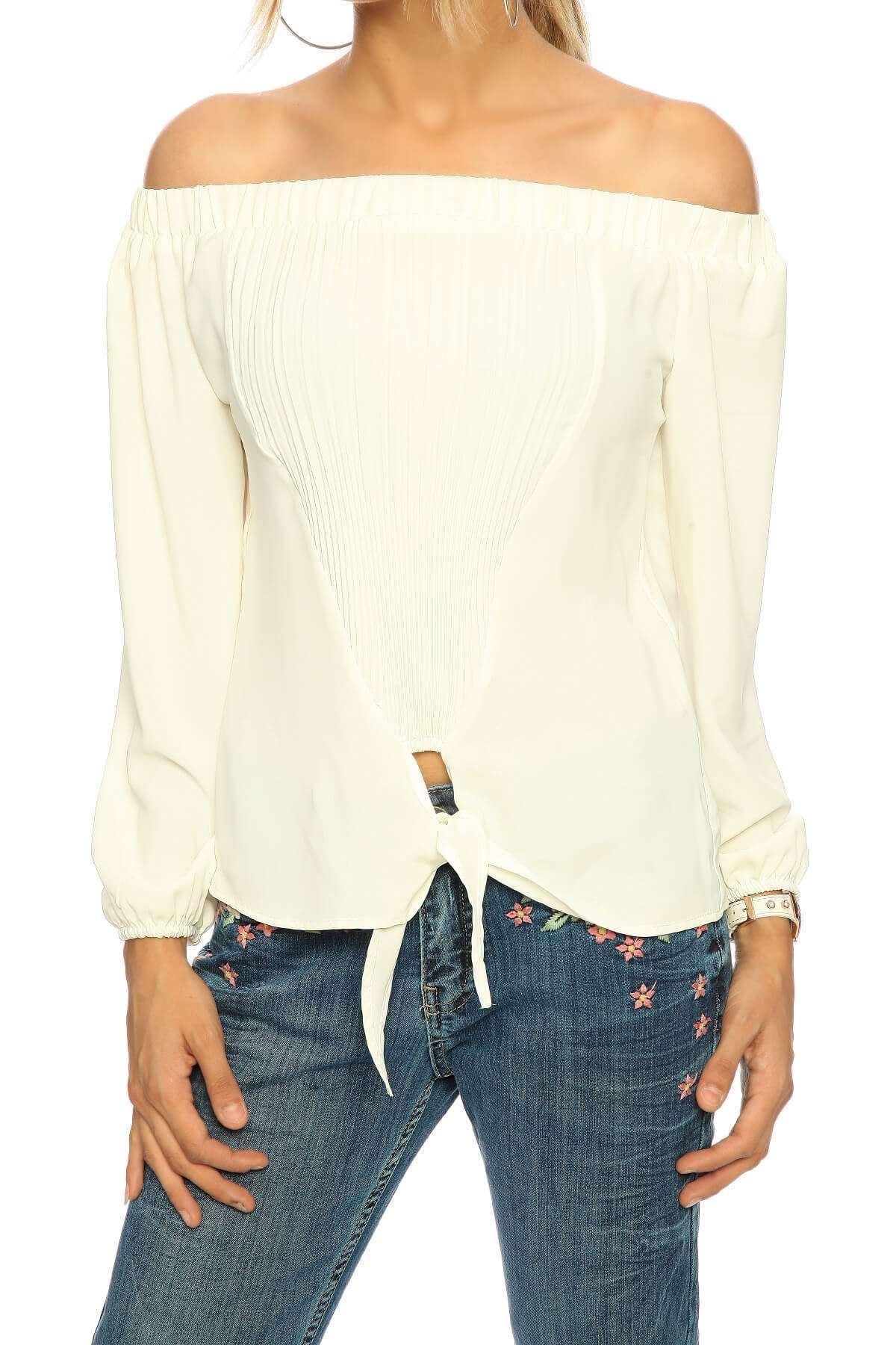 Önü Plise Altı Bağcıklı Straplez Bluz Beyaz