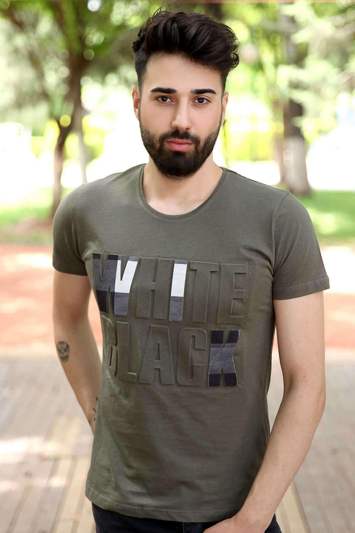 Önü Kabartma White Black Yazılı Slim Fit Tişört Haki