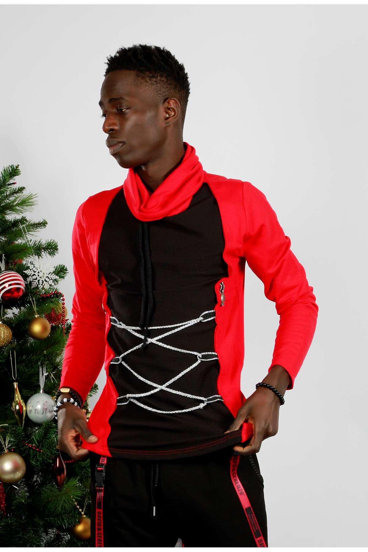 Önü İpli Boğazlı Tarz Sweatshirt Kırmızı
