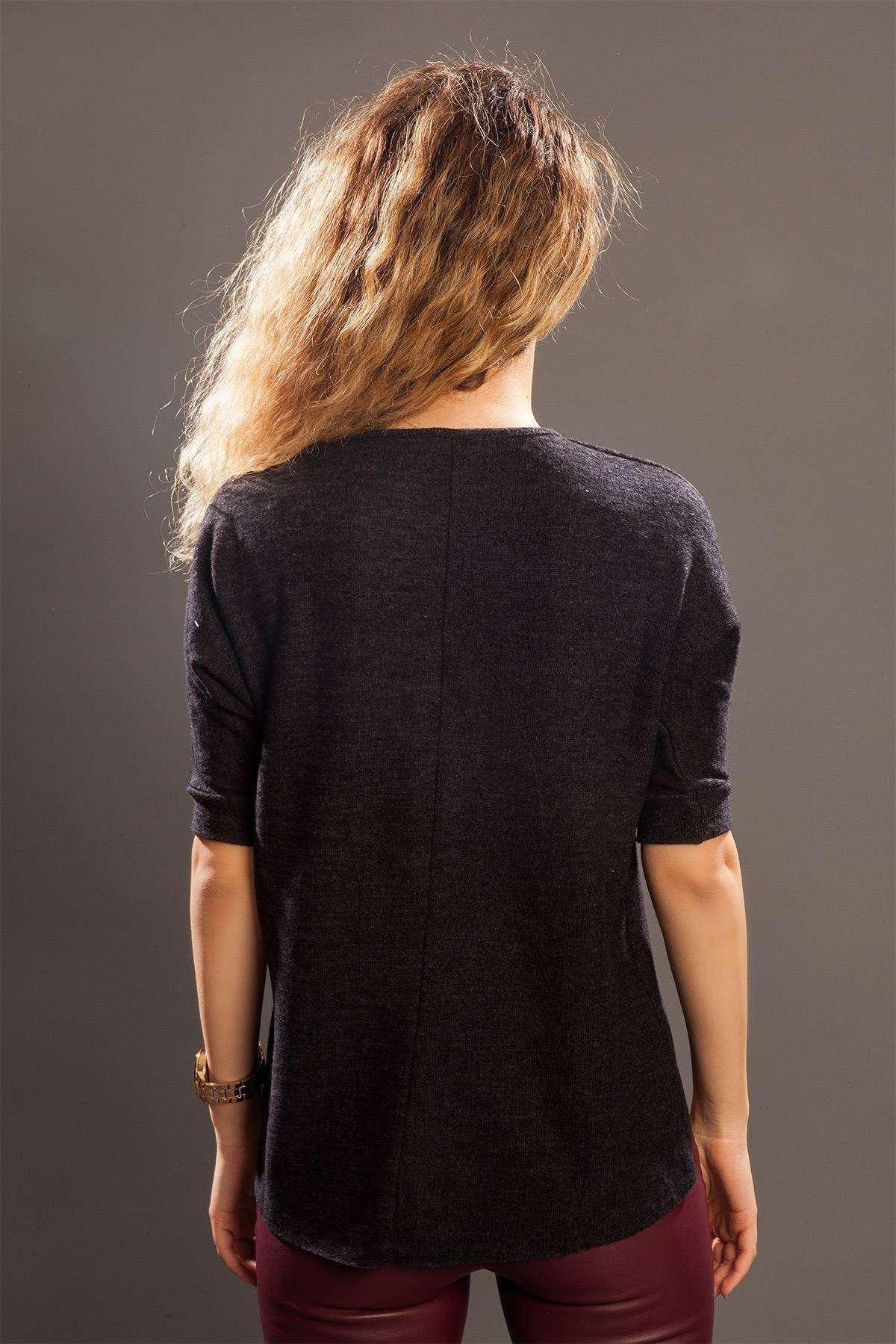 Önü Kısa Arkası Uzun Sıfır Yaka Bluz Siyah