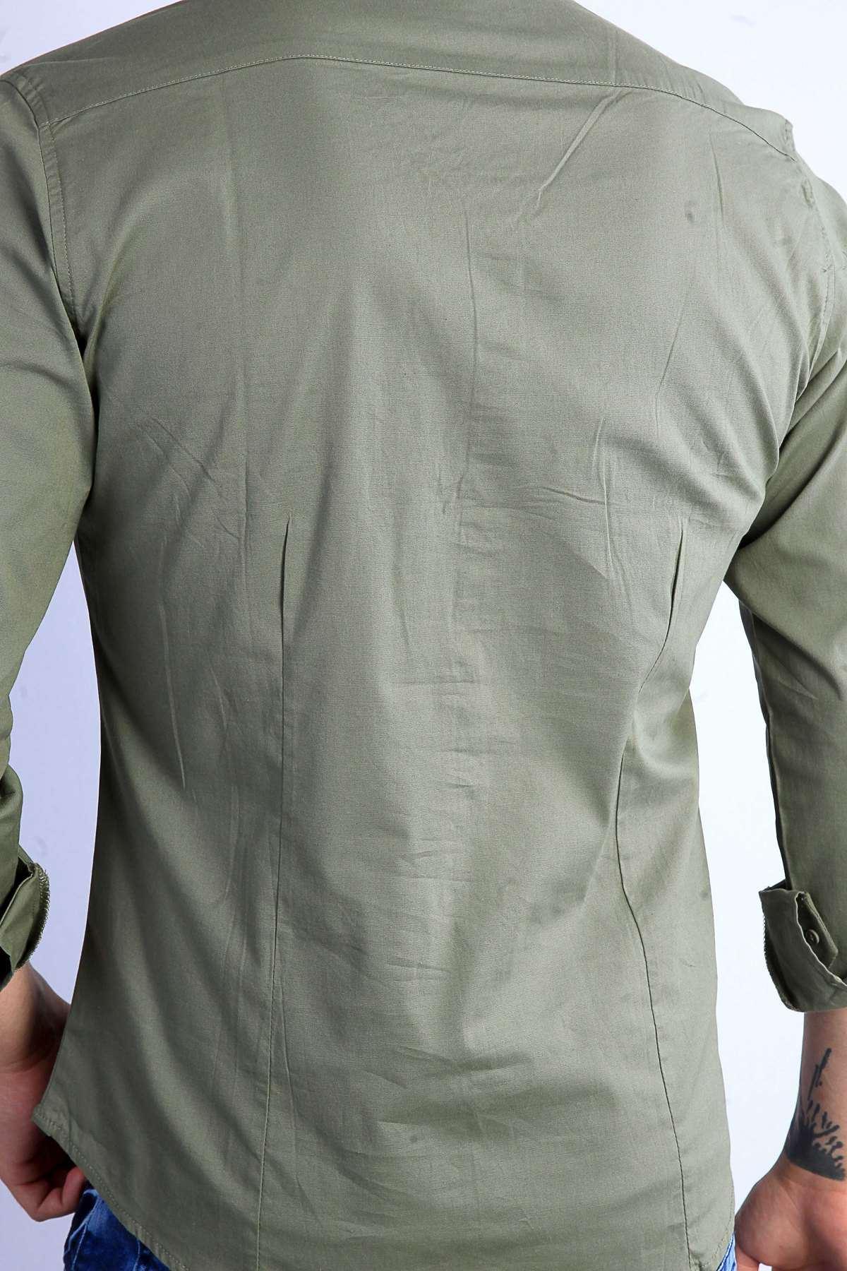 Önü Şeritli Darkness Yazılı Parlak Kumaş Slim Fit Gömlek Haki