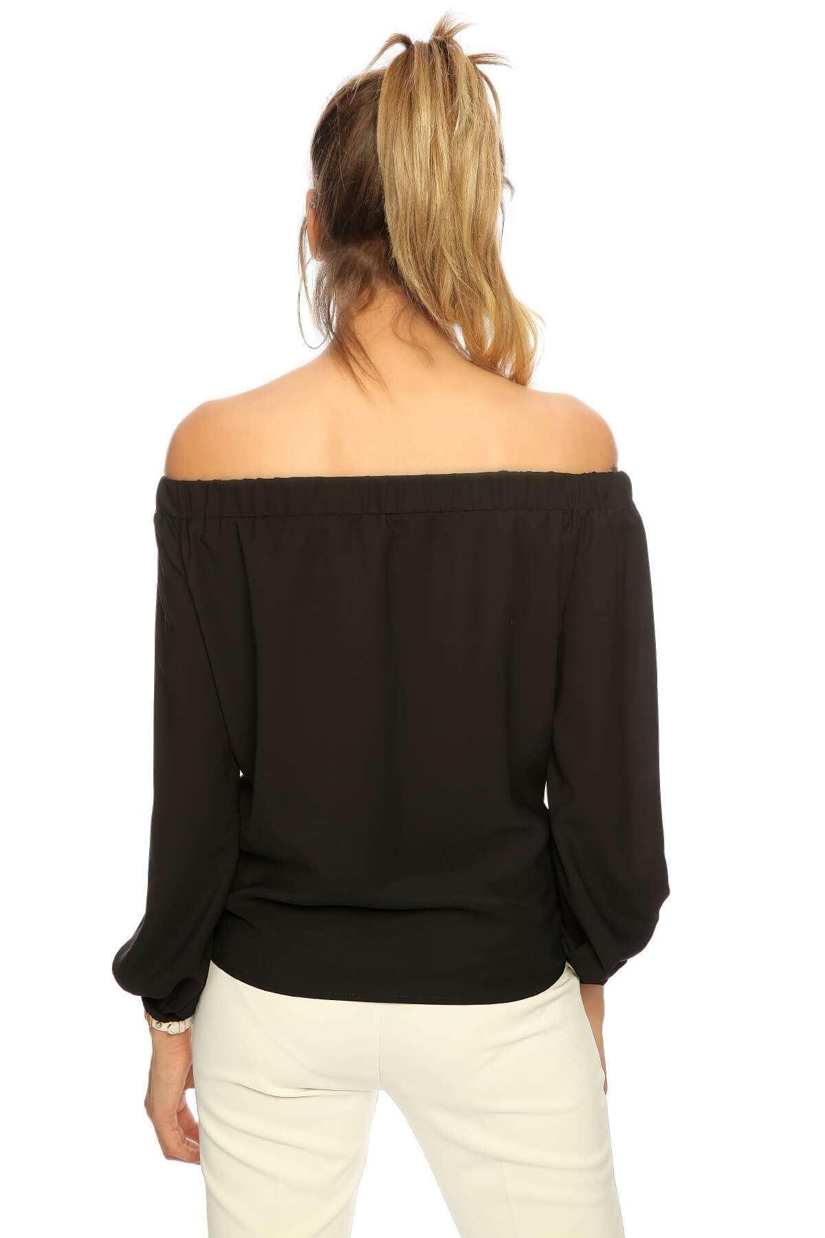 Önü Plise Altı Bağcıklı Straplez Bluz Siyah