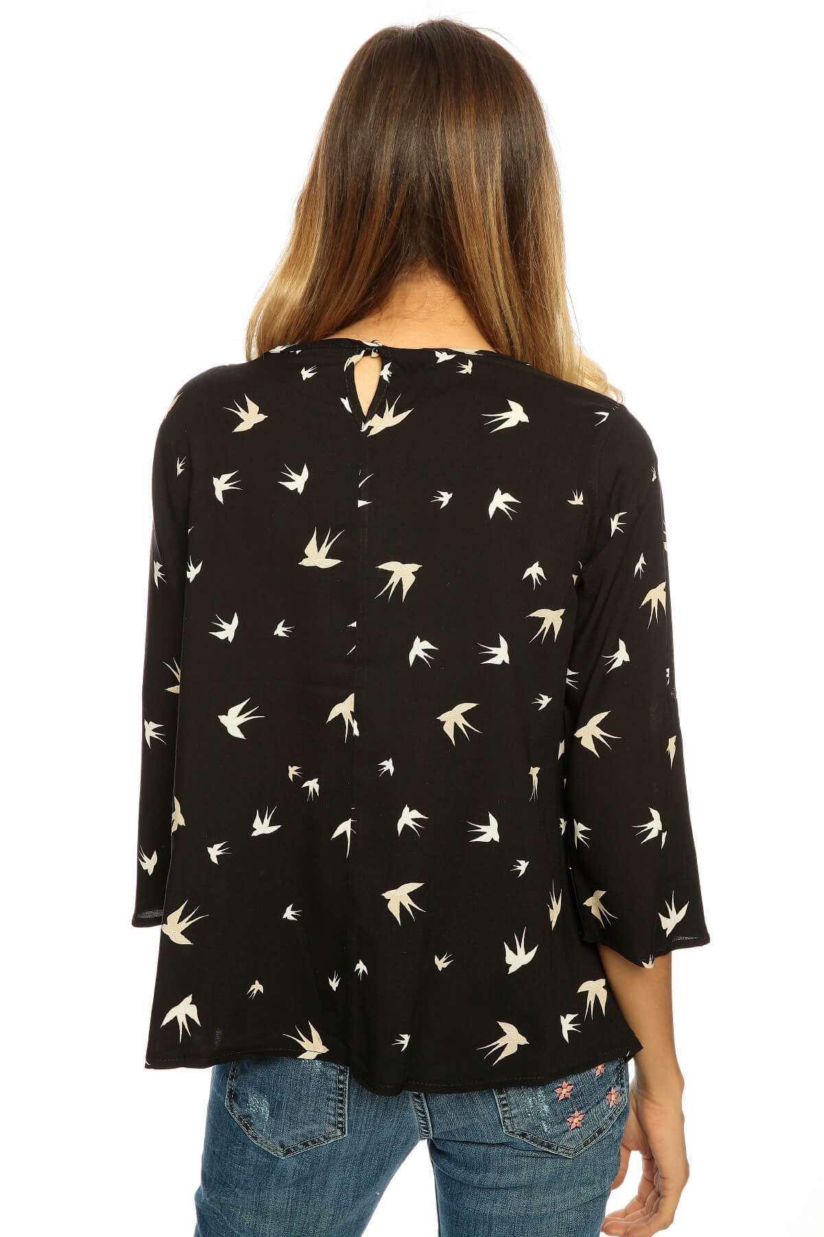 Önü Kısa Kuş Desenli Ges Kol Bluz Siyah
