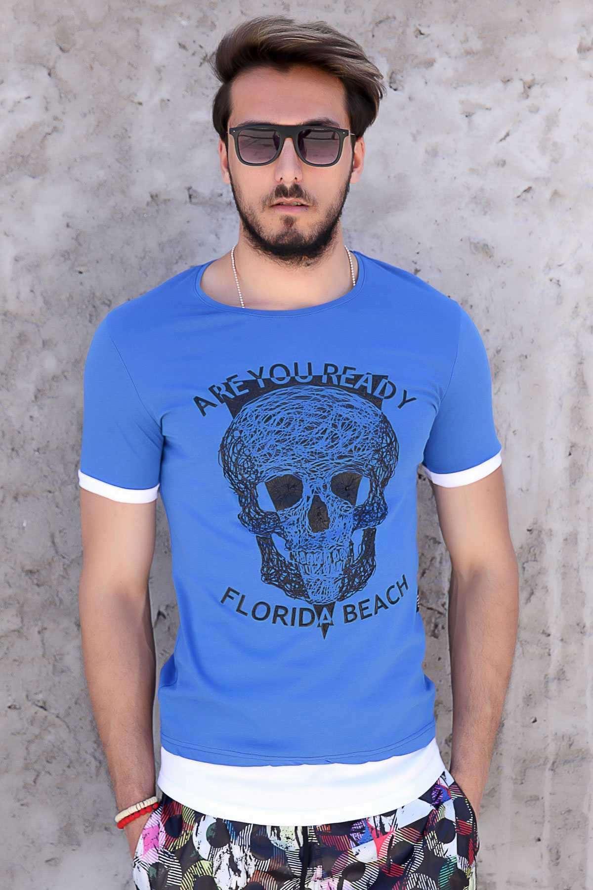 Önü Kuru Kafa Baskılı Are You Ready Yazılı Tişört Saks
