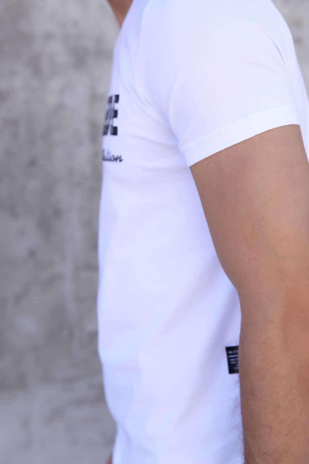 Önü Kabartma Avantgarde Yazılı Slim Fit Tişört Beyaz