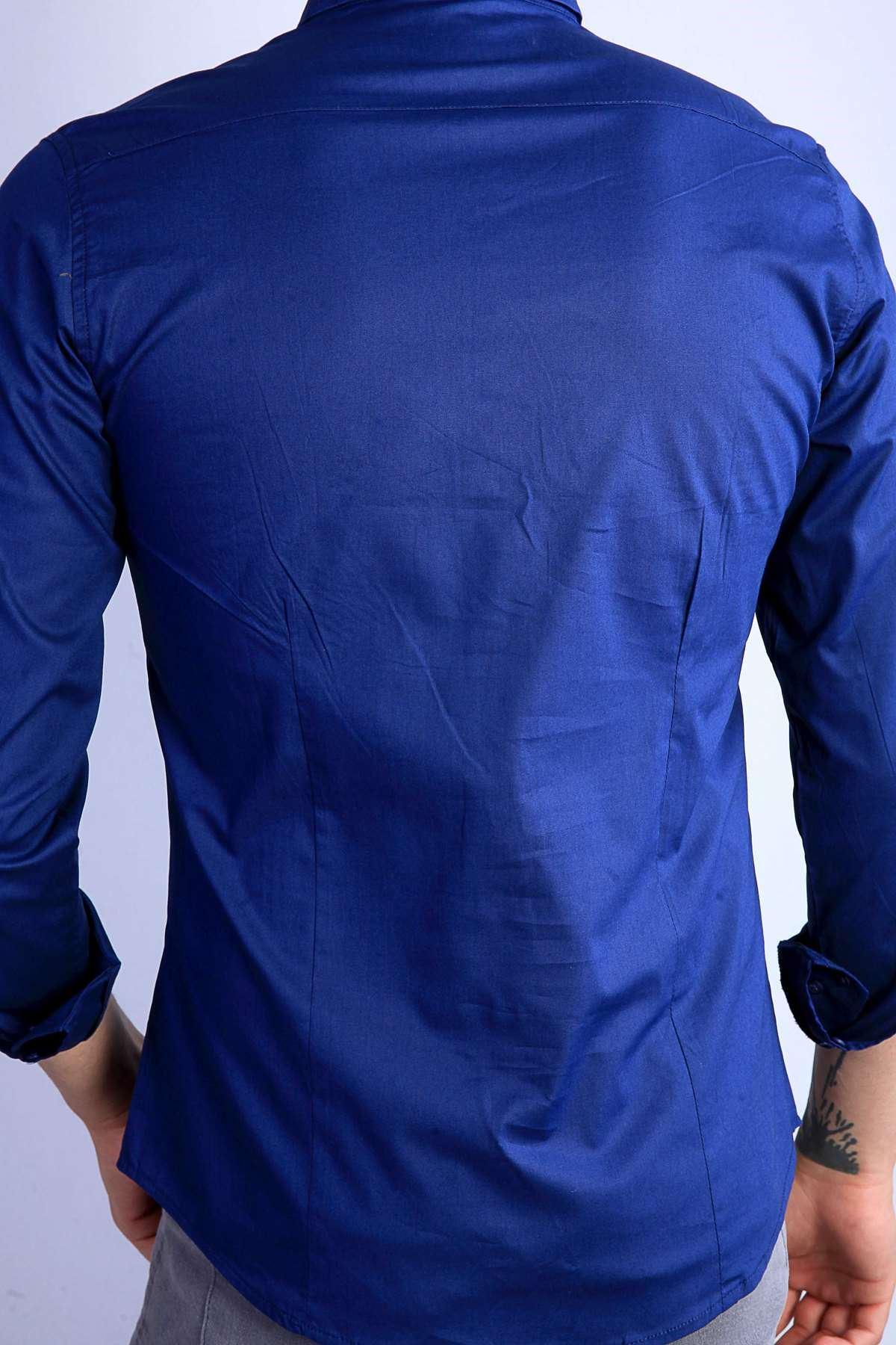 Önü Şeritli Darkness Yazılı Parlak Kumaş Slim Fit Gömlek Lacivert