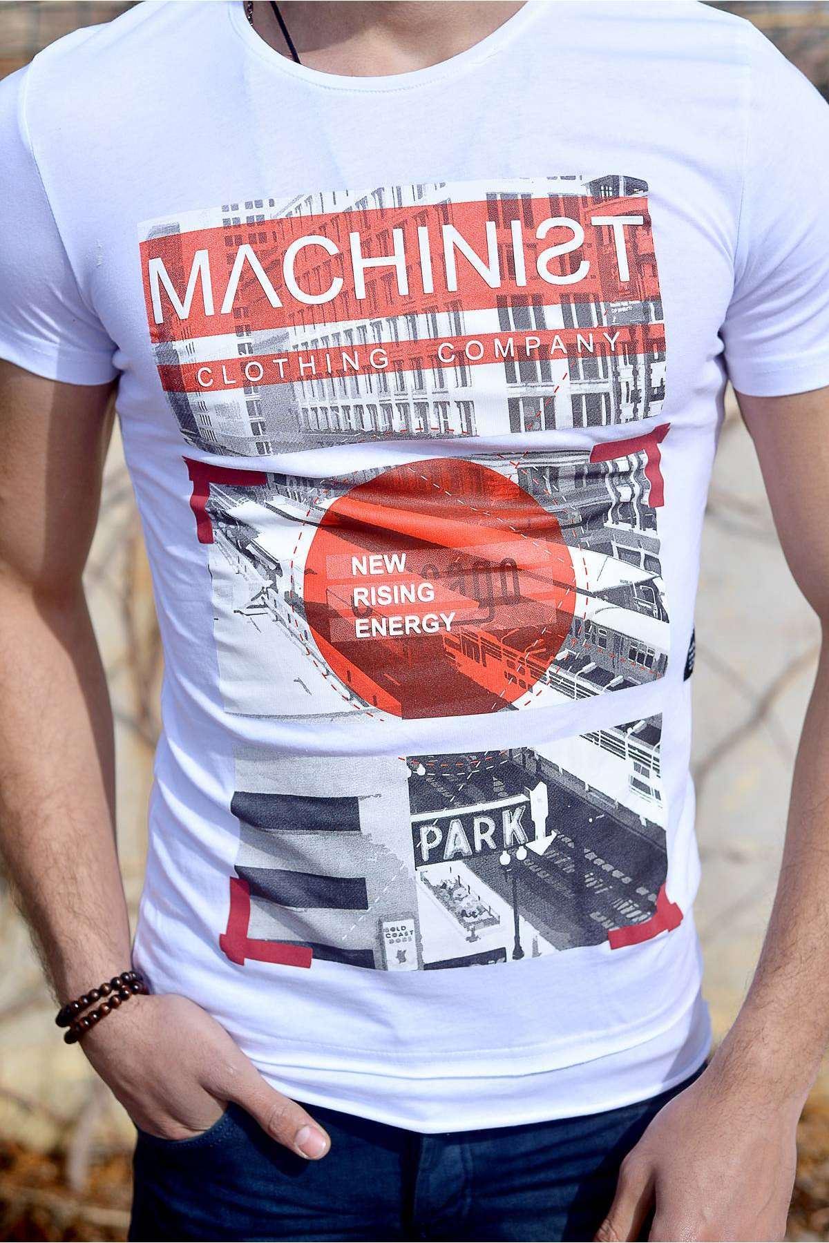 Önü Machinist Yazılı Resim Baskılı Tişört Beyaz