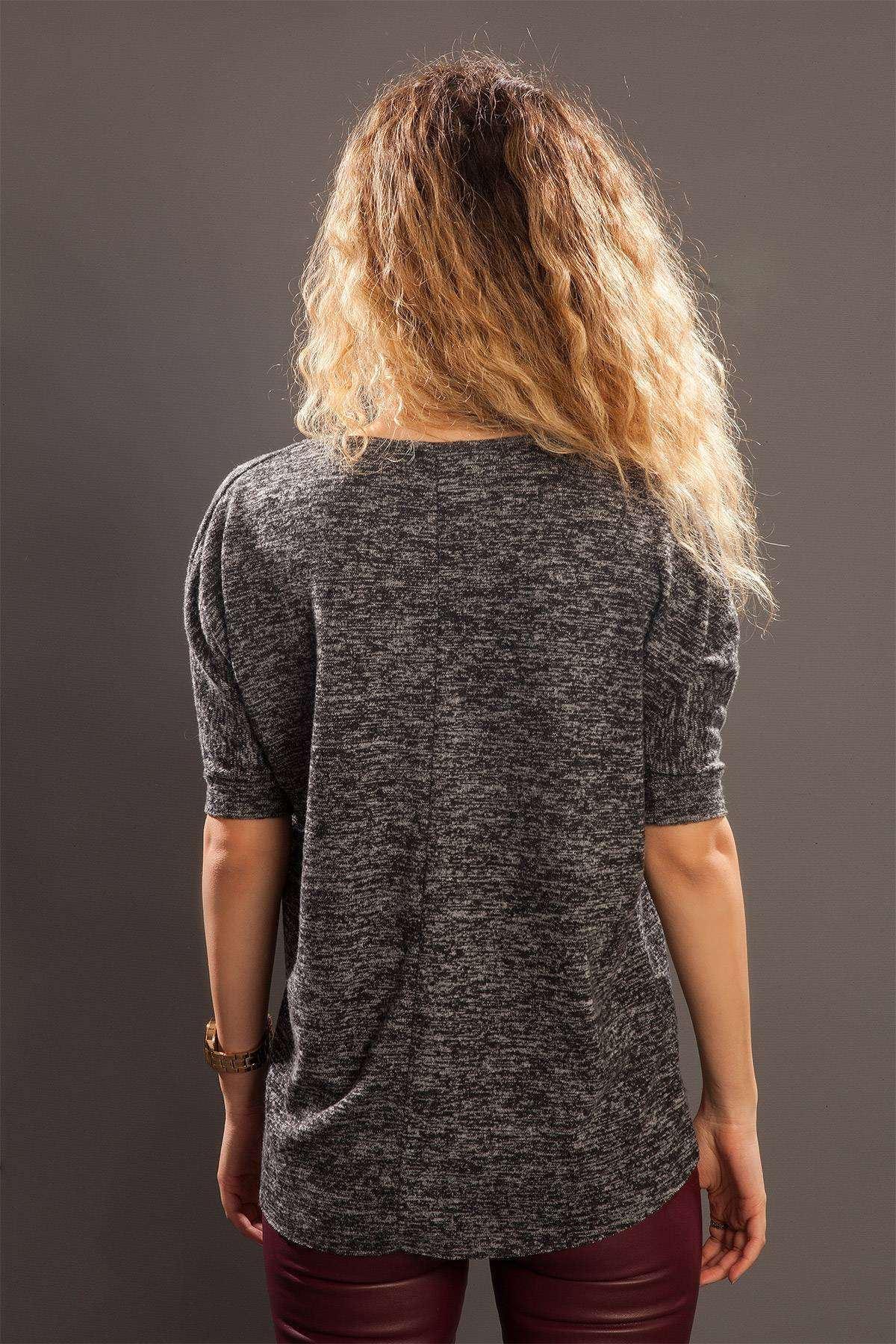 Önü Kısa Arkası Uzun Sıfır Yaka Bluz Füme