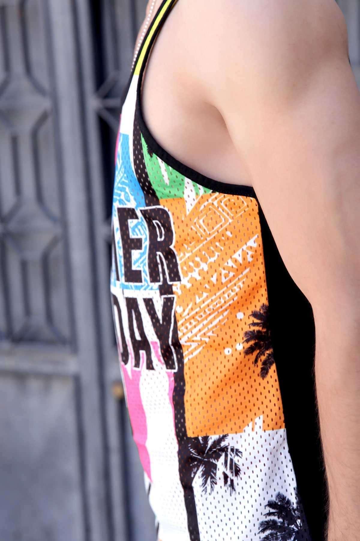 Önü Summer Holiday Yazılı Renkli Fileli Atlet Siyah
