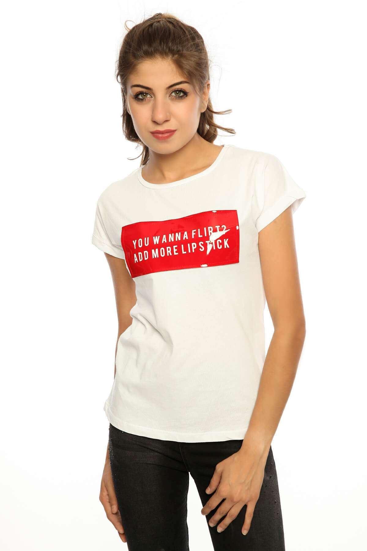 Önü Slikon Geniş Yaka Tişört Byz-Kırmızı