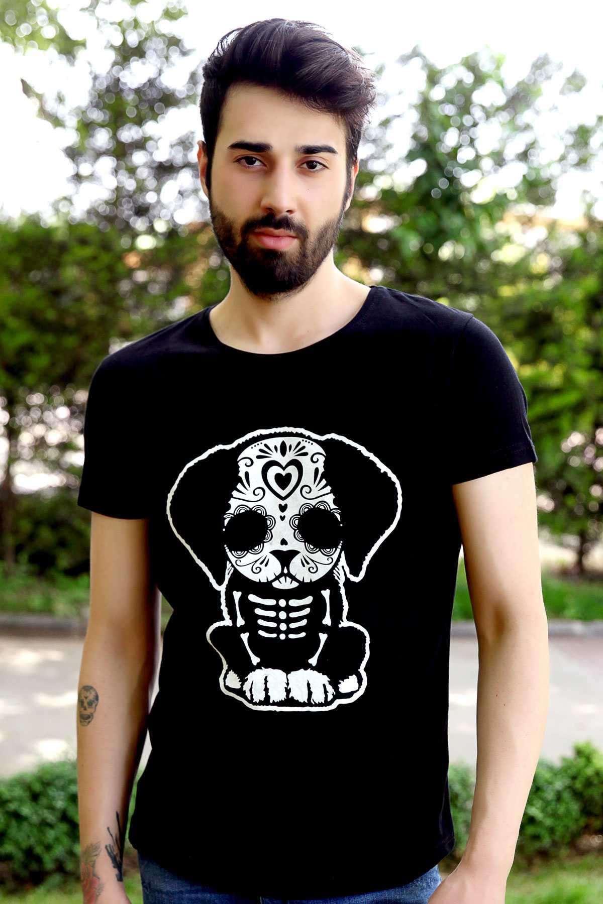 Önü Köpek Baskılı Simit Yaka Slim Fit Tişört Siyah