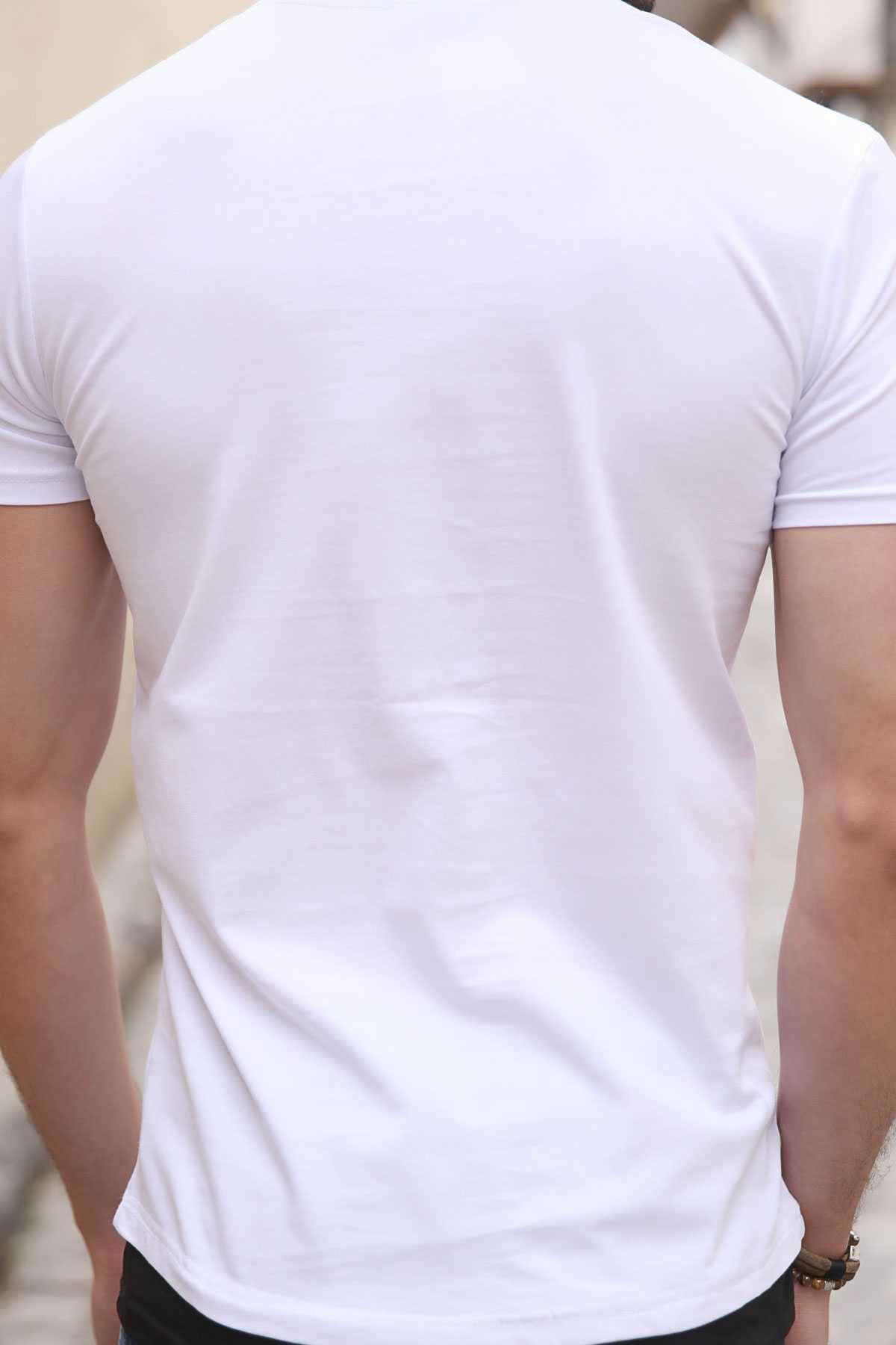Önü Ny Yazı Baskılı Sıfır Yaka Slim Fit Tişört Beyaz